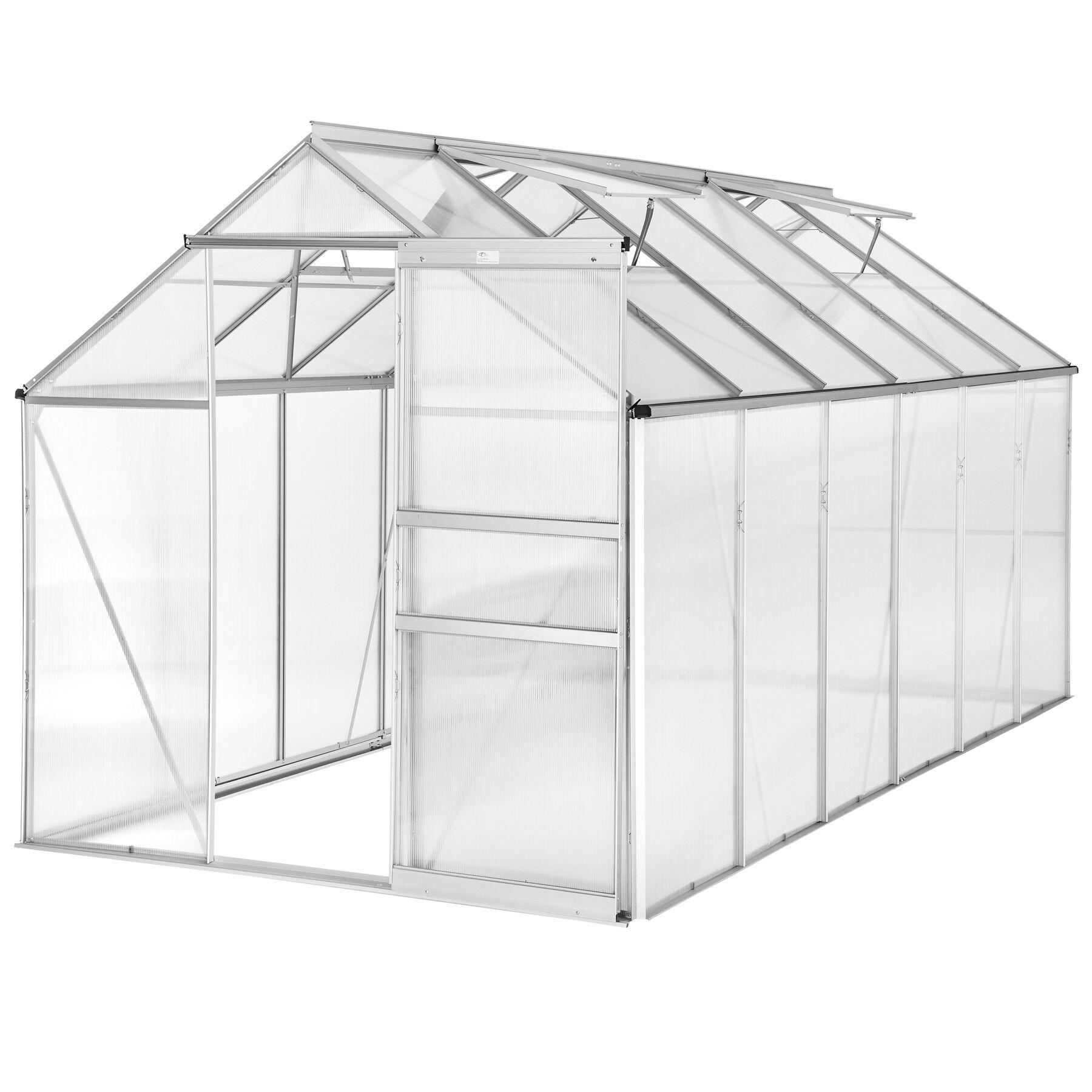 tectake serra in alluminio e policarbonato senza fondamenta - 375 x 185 x 195 cm