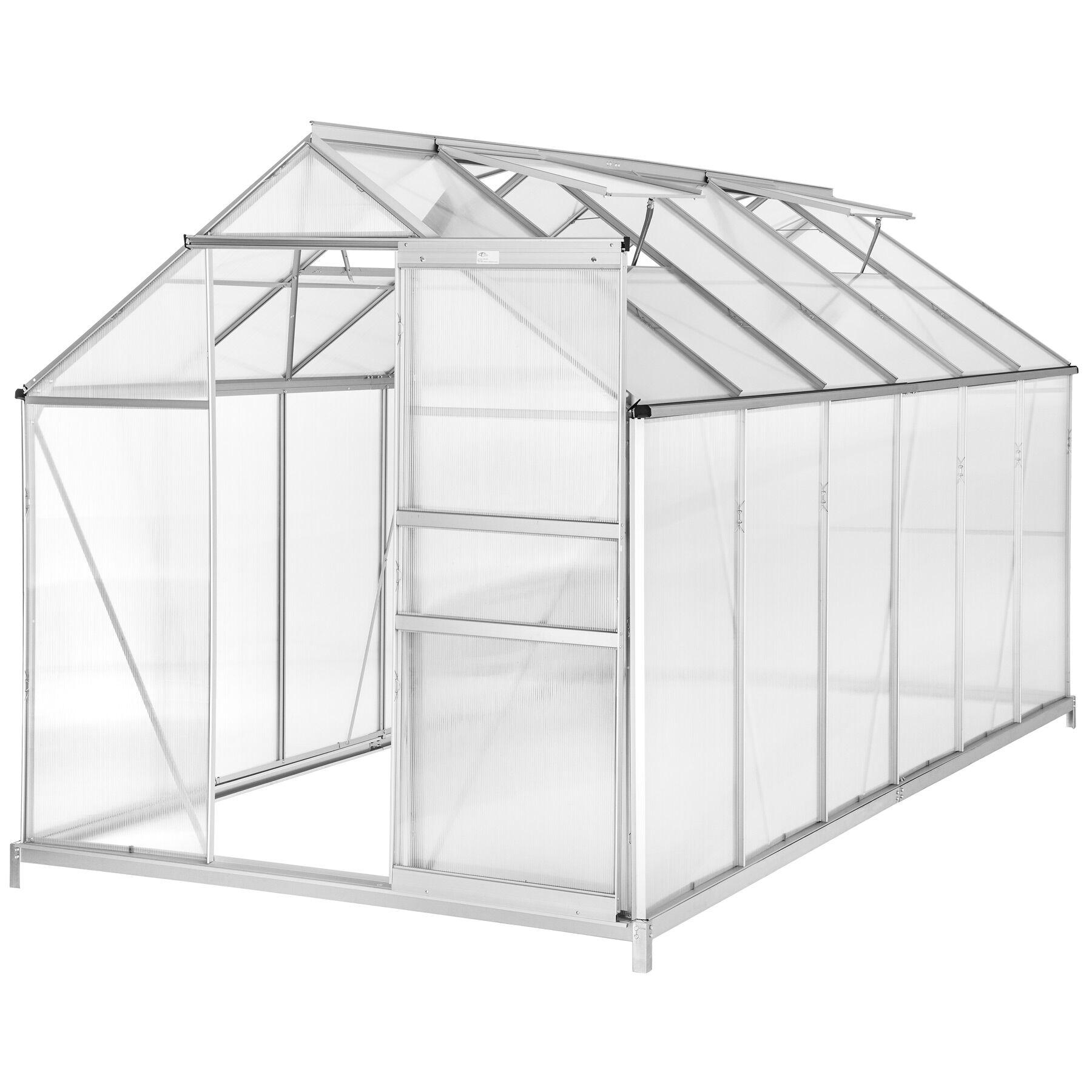 tectake serra in alluminio e policarbonato con fondamenta - 375 x 185 x 195 cm
