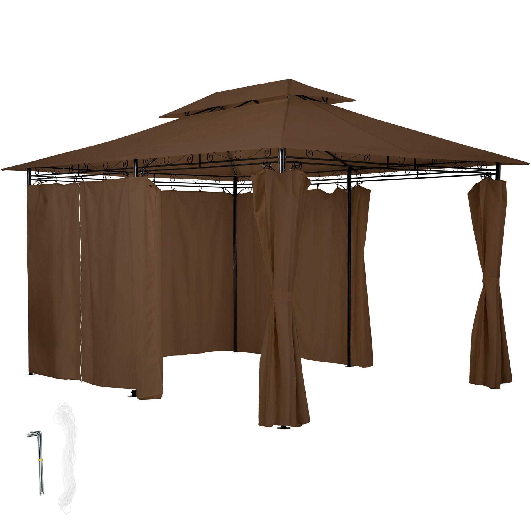 tectake gazebo da giardino deluxe con 6 teli laterali - marrone