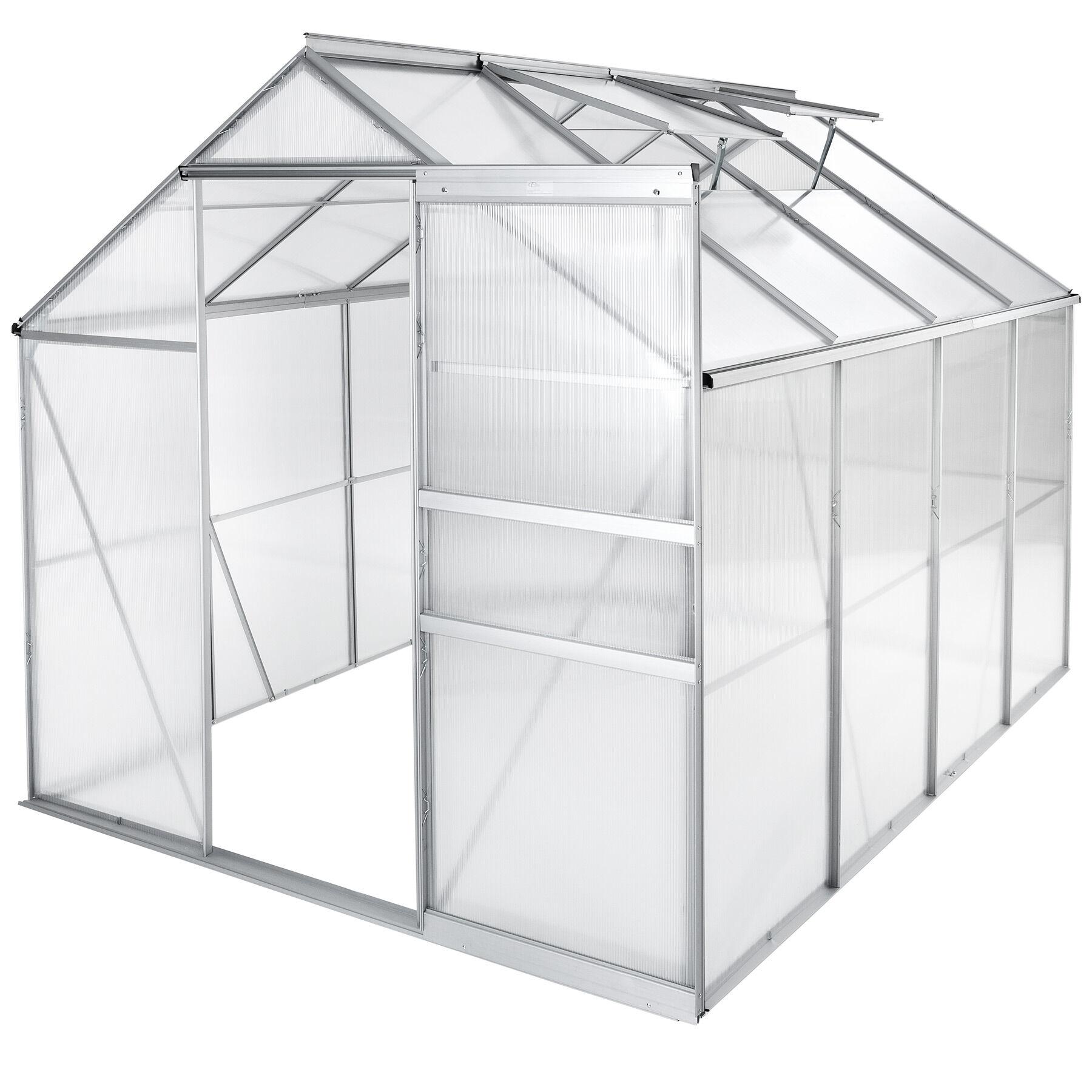 tectake serra in alluminio e policarbonato senza fondamenta - 250 x 185 x 195 cm
