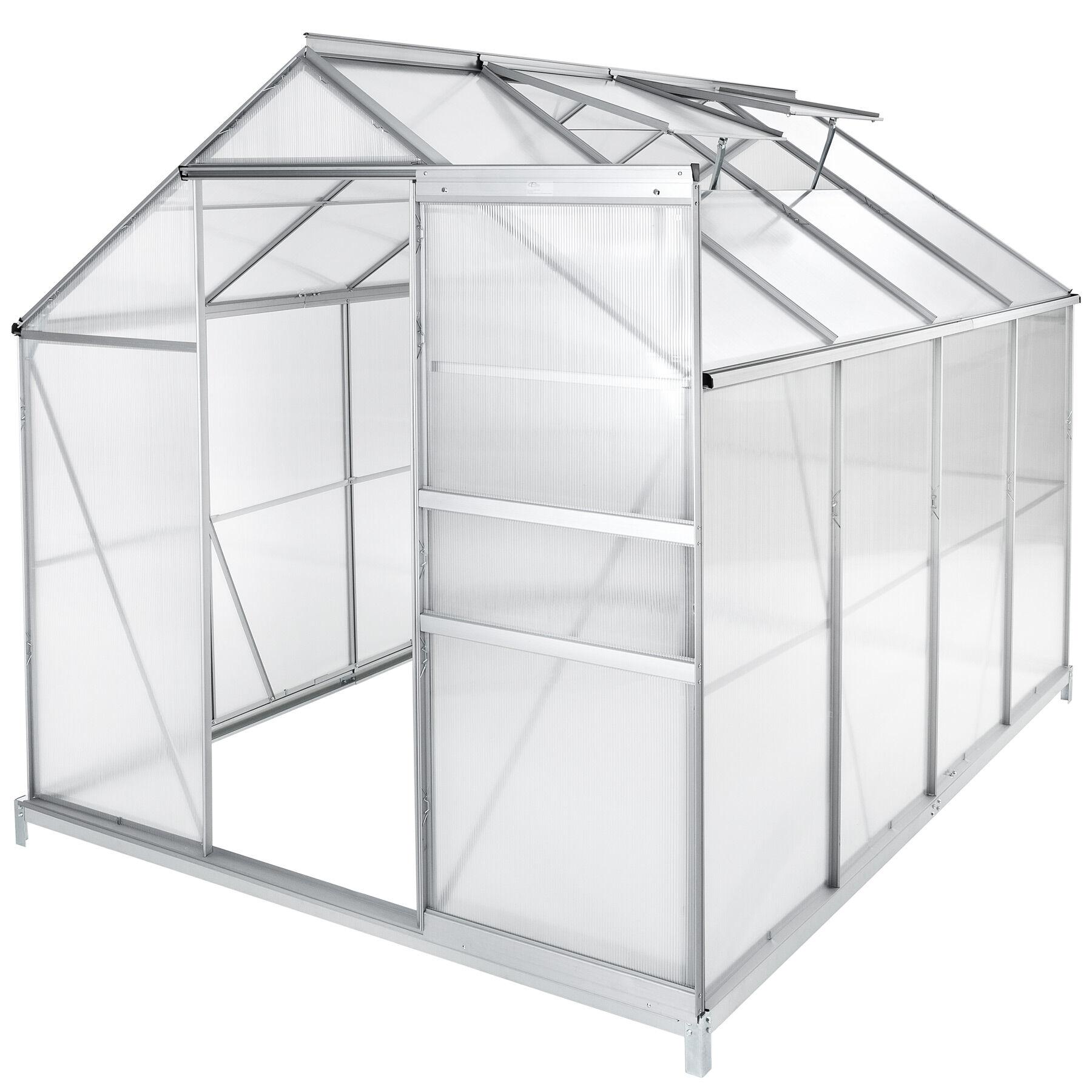 tectake serra in alluminio e policarbonato con fondamenta - 250 x 185 x 195 cm