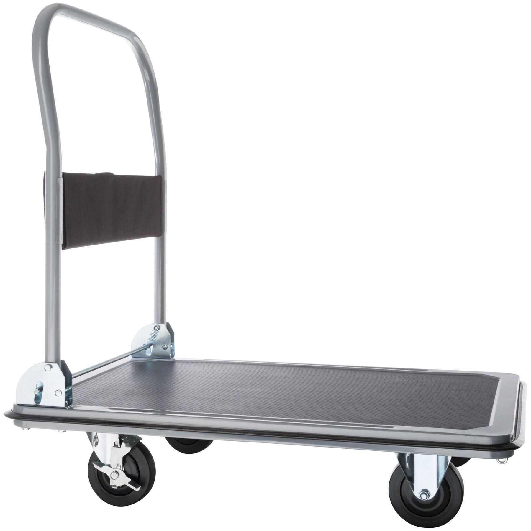 tectake carrello a pianale con freni - nero, 300 kg