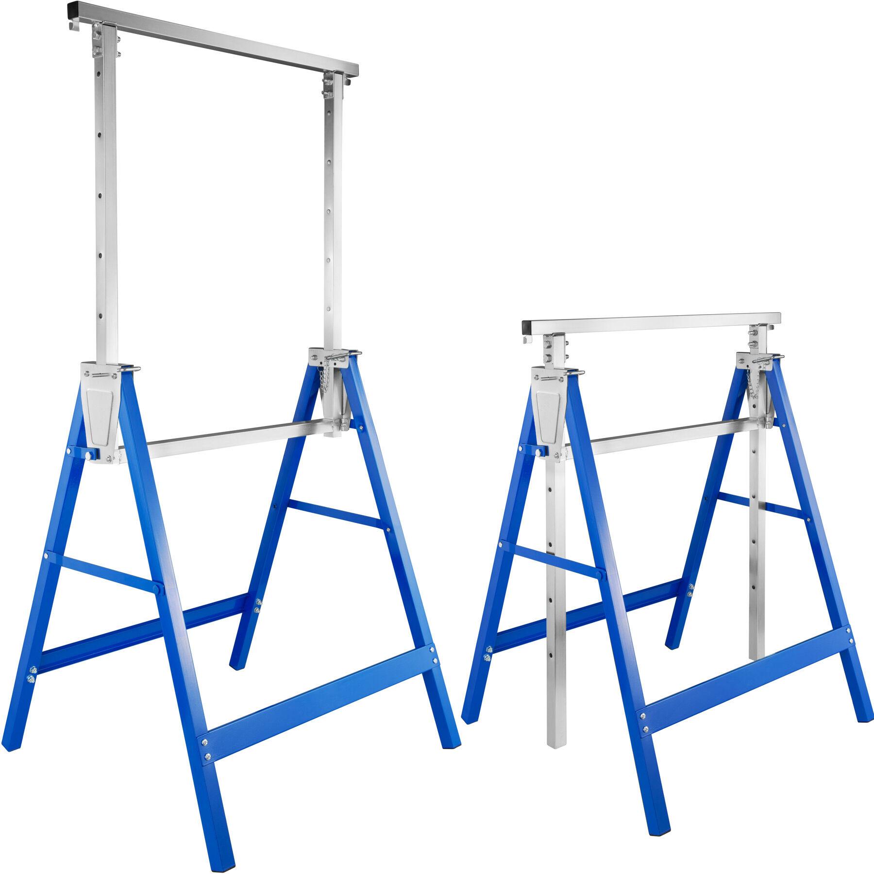 tectake Coppia di cavalletti 2 set di cavalletti di sostegno regolabili in altezza - blu
