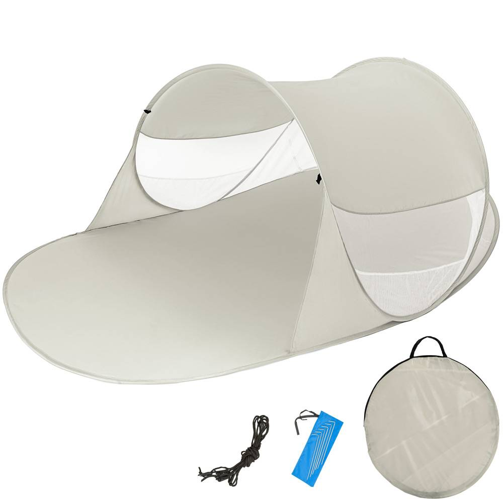 tectake tenda parasole da spiaggia ad apertura rapida angelika - grigio
