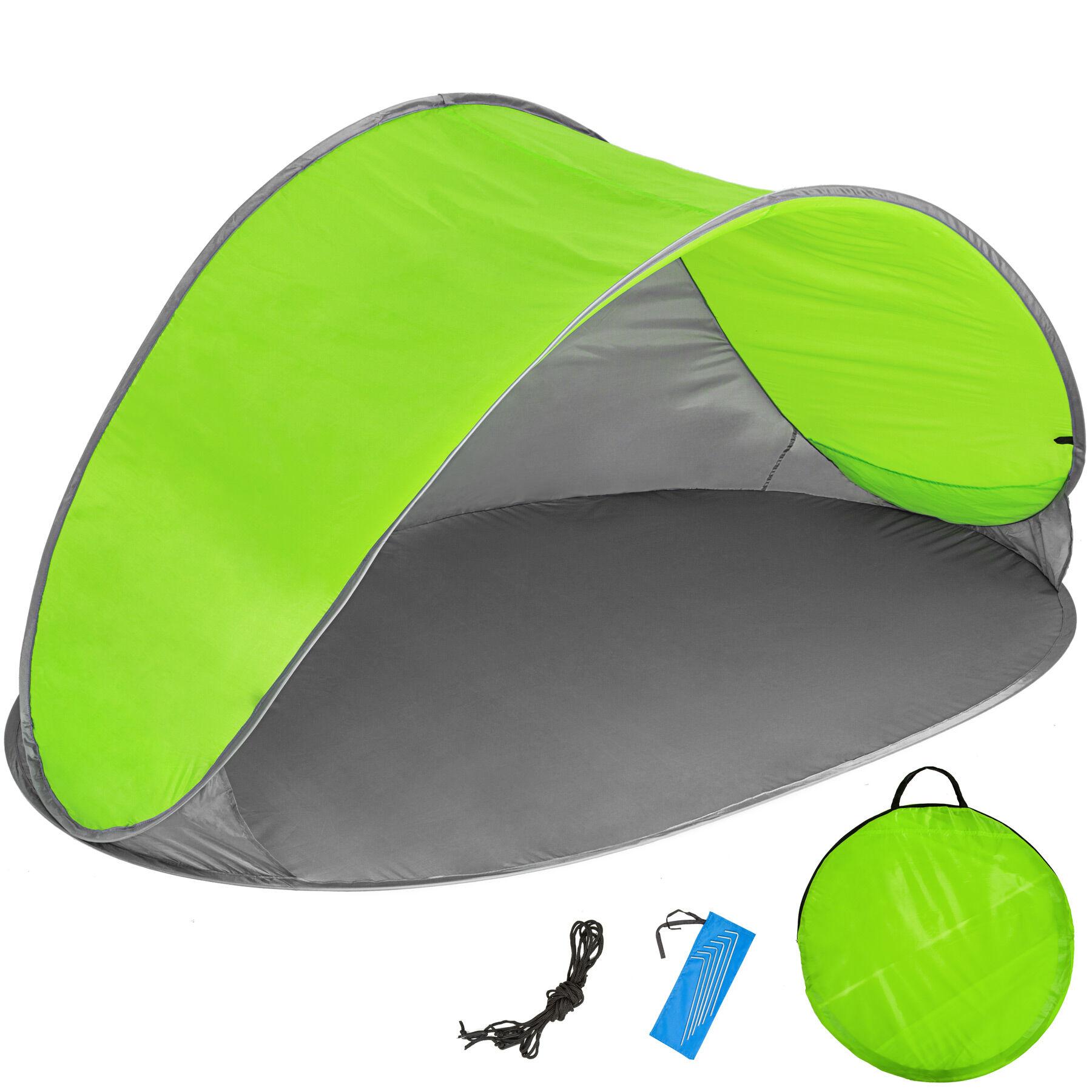 tectake tenda parasole da spiaggia ad apertura rapida jasmin - grigio/verde
