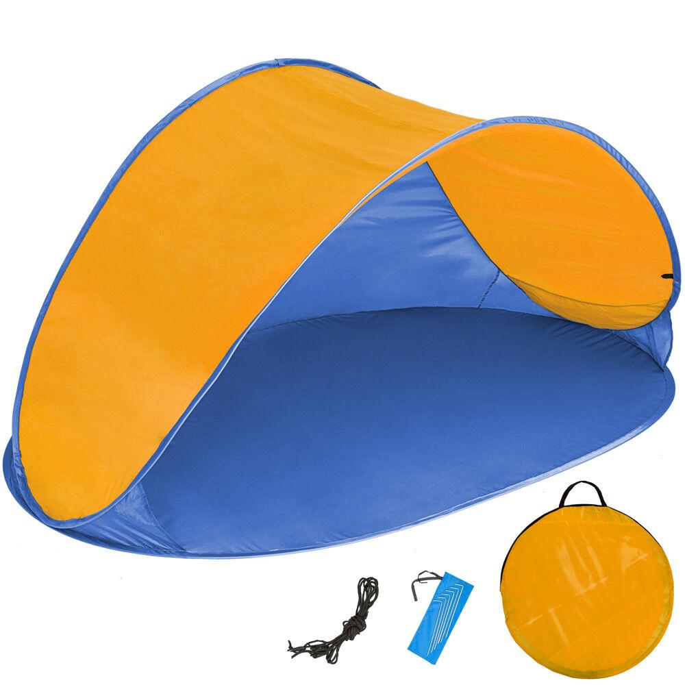 tectake tenda parasole da spiaggia ad apertura rapida jasmin - blu/arancio