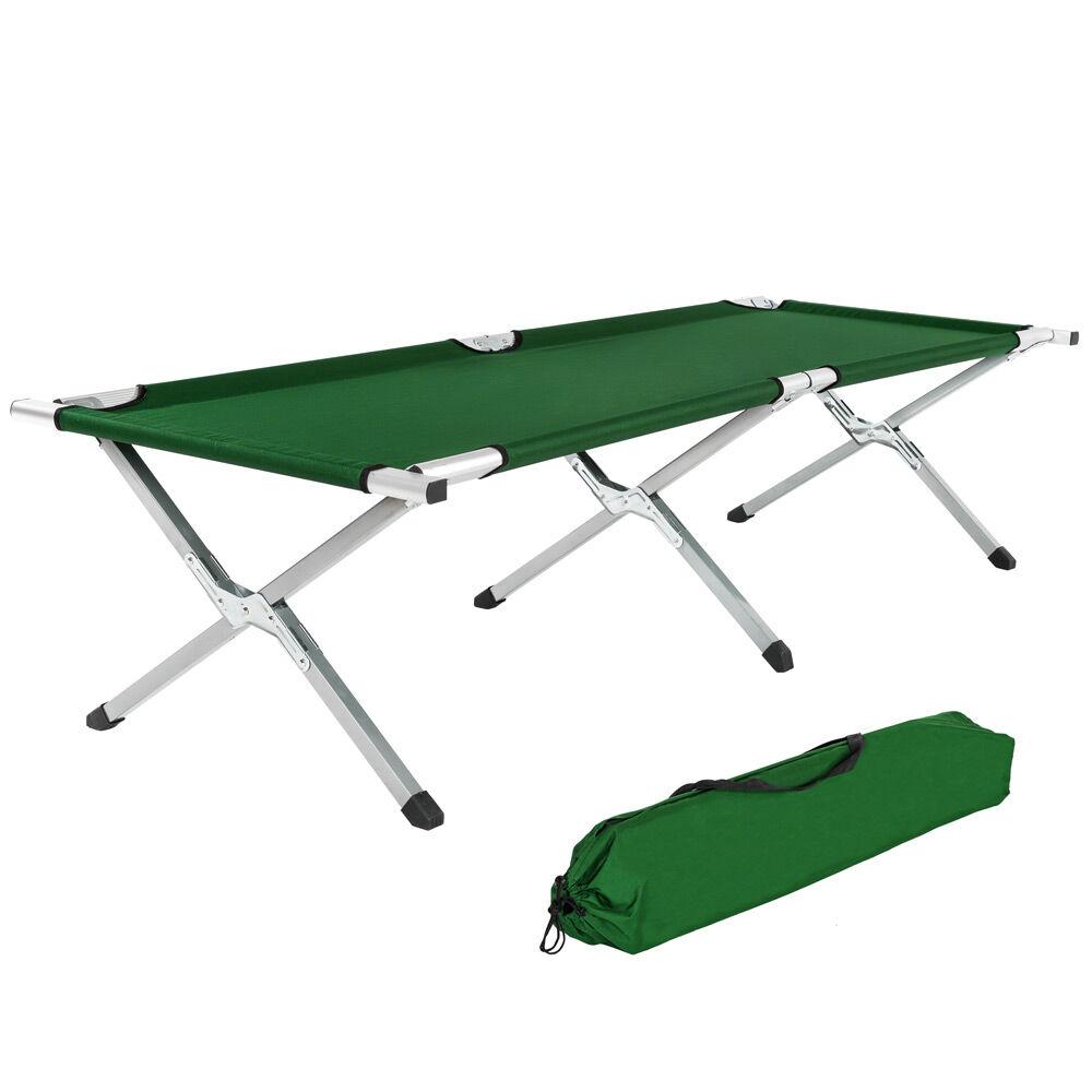 tectake lettino da campeggio in alluminio - verde