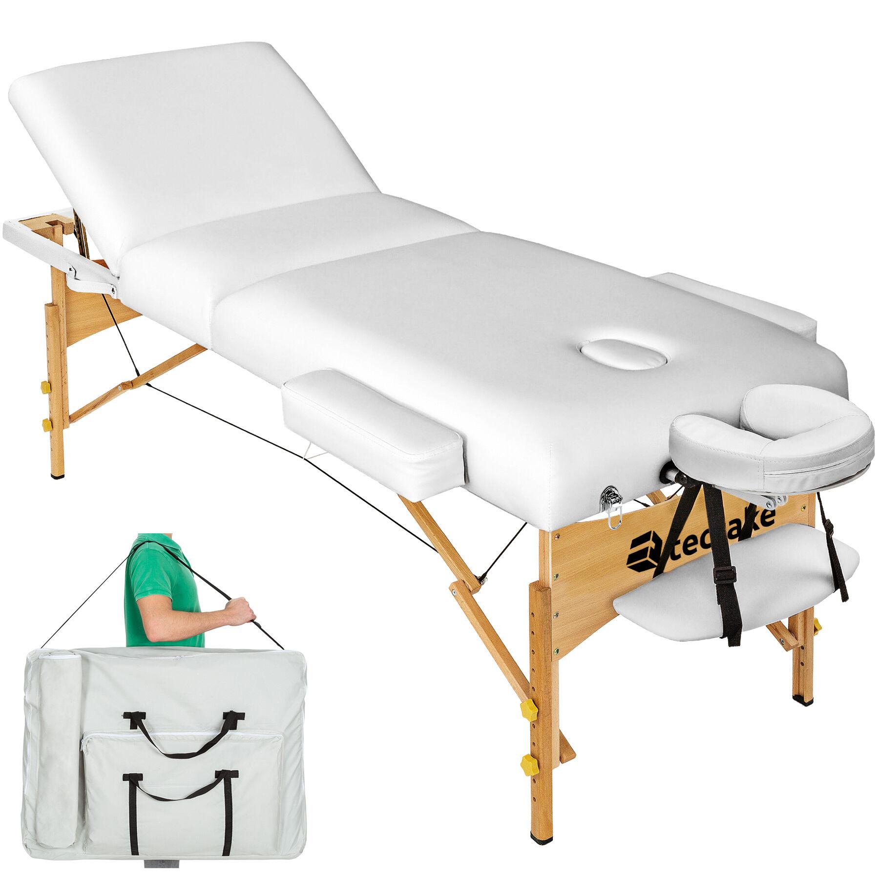 tectake lettino da massaggio a 3 zone, 10 cm di imbottitura + borsa - bianco