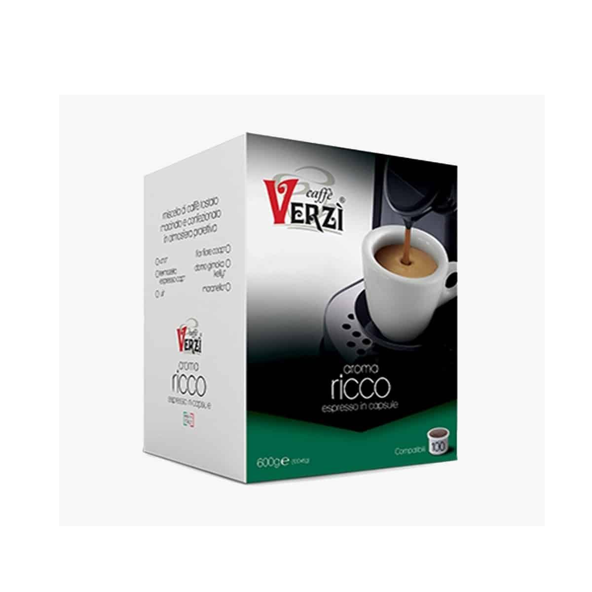 Rocard Caffè Verzi - Compatibile Fior Fiore - Miscela Ricco 100 Capsule