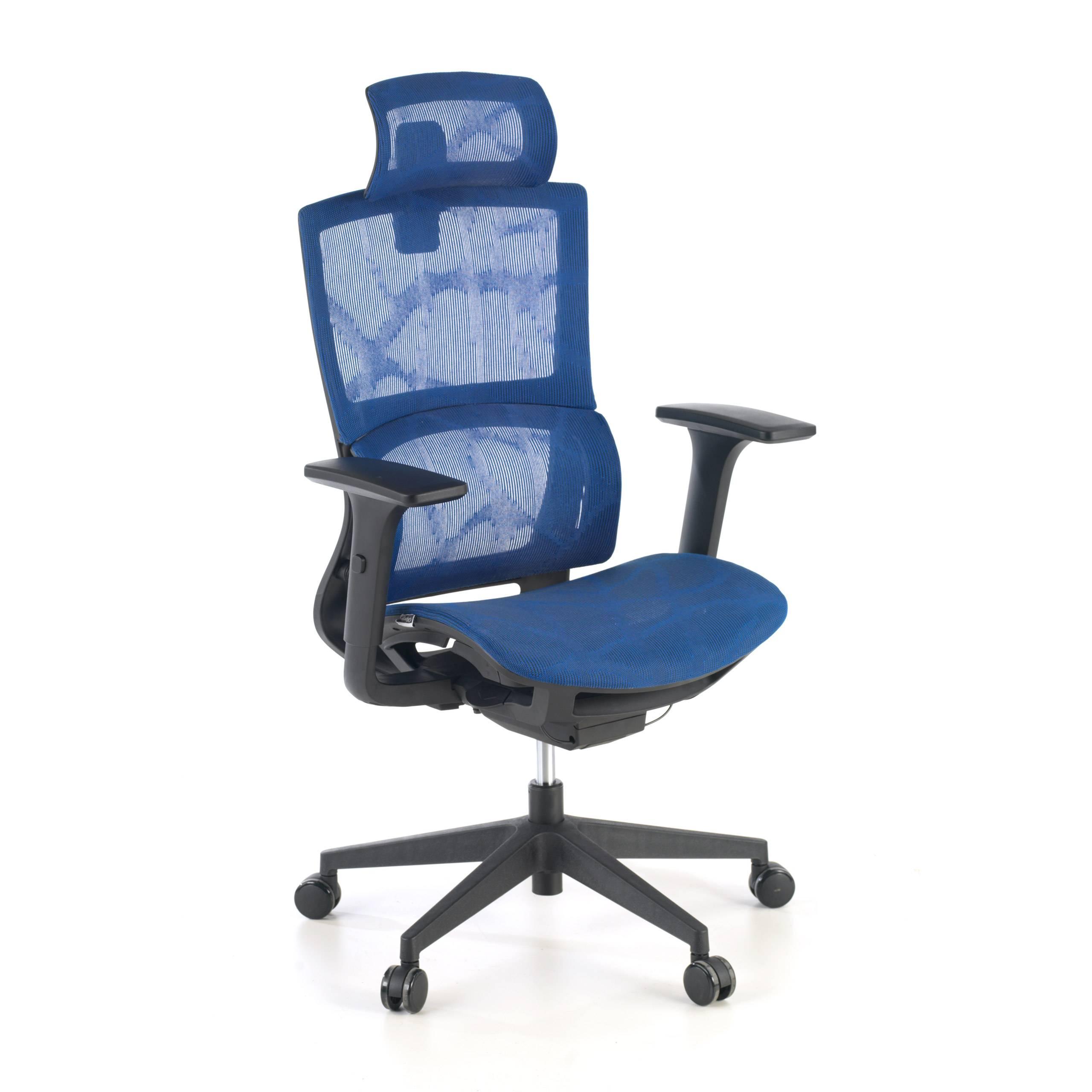 ofiprix sedia ergonomica vortex, cuscino lombare, poggiatesta, rete, blu