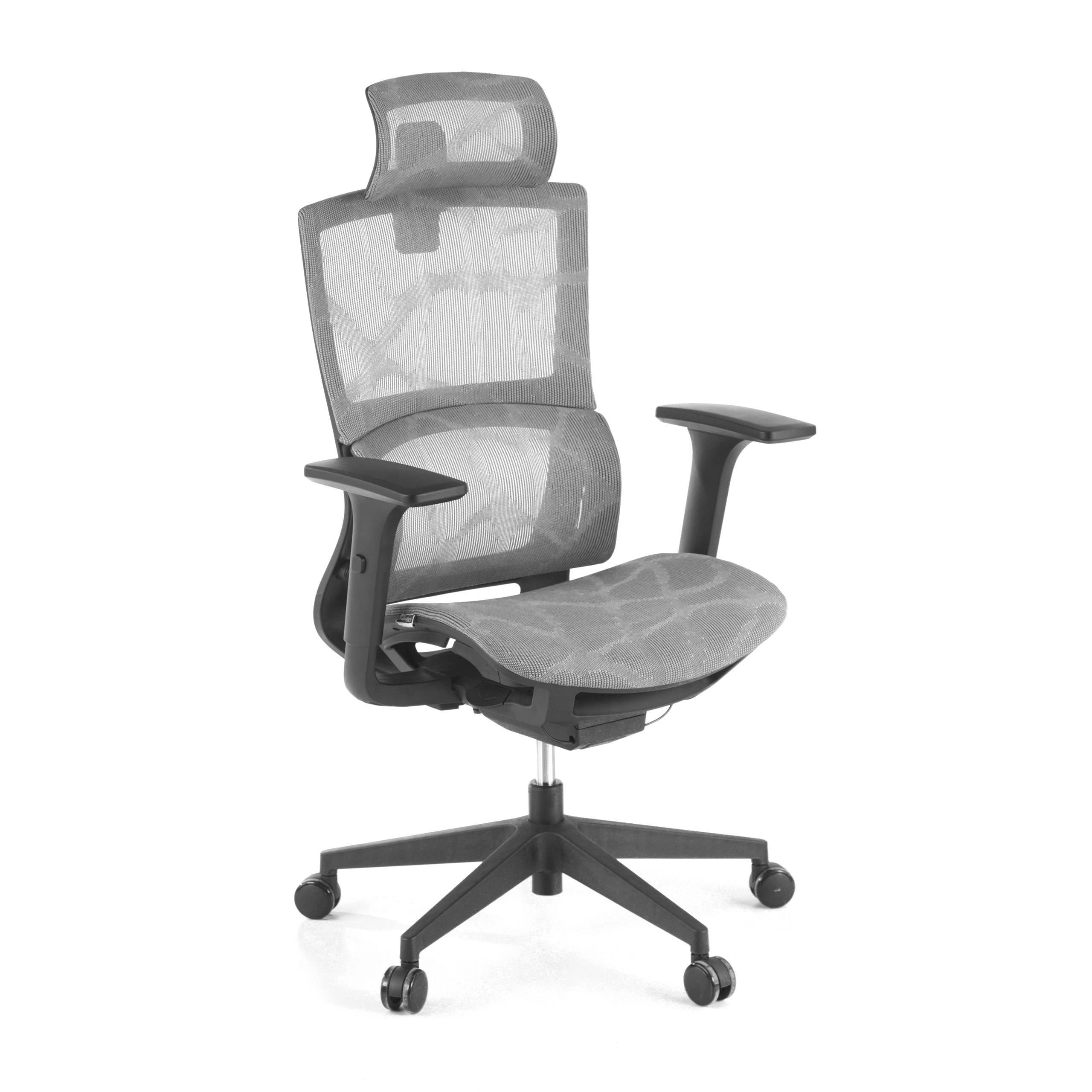 ofiprix sedia ergonomica vortex, cuscino lombare, poggiatesta, rete, grigio