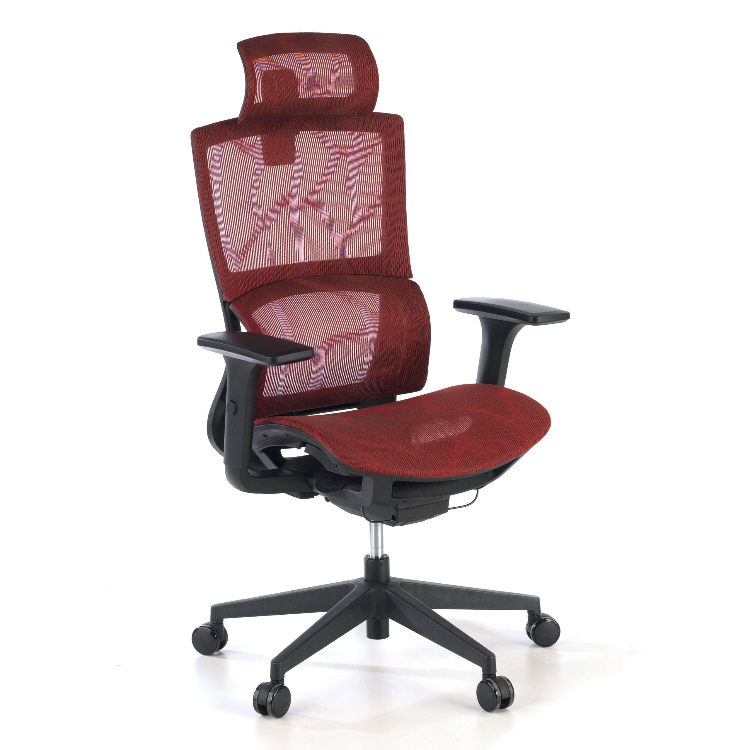 ofiprix sedia ergonomica vortex, cuscino lombare, poggiatesta, rete, rosso