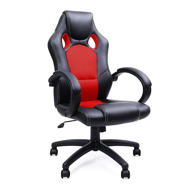 Ofichairs Sedia gaming Racer, design sportivo, imbottito, rosso
