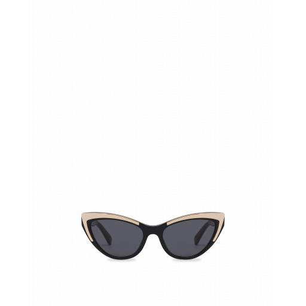 Moschino Occhiali Da Sole Cat Eye Gold Details Nero