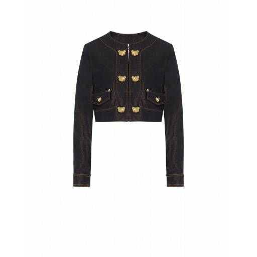 Moschino Giacca Cropped In Denim Teddy Buttons Nero