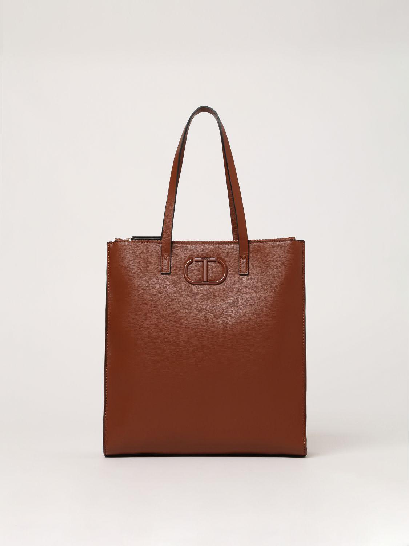 twin-set borse tote twin set donna colore cuoio