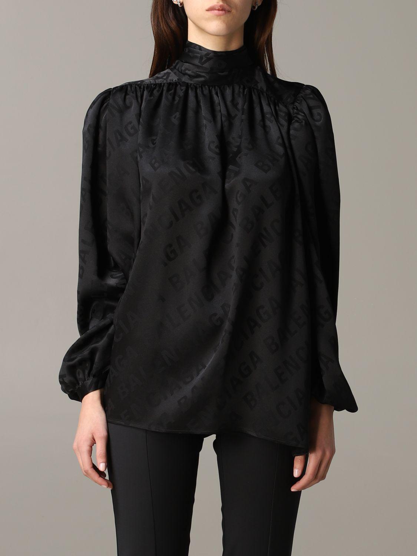 balenciaga blusa balenciaga in seta con logo all over e collo a foulard