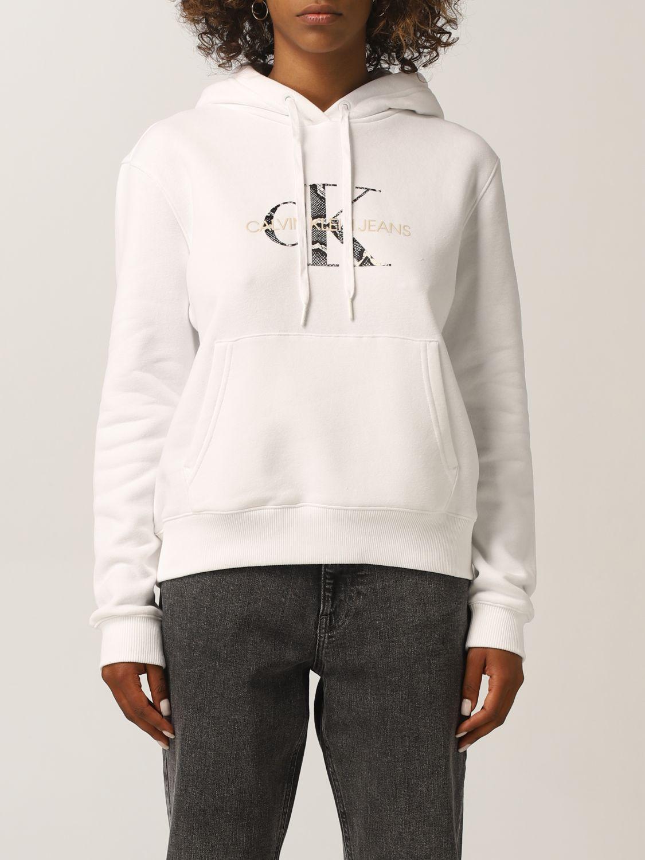 calvin klein felpa calvin klein jeans donna colore bianco