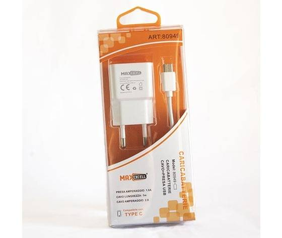 caricabatterie cavo più presa usb 1 m type c