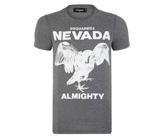 DSQUARED2 T-Shirt Uomo - Stampa Nevada - Colore Grigio - Grey
