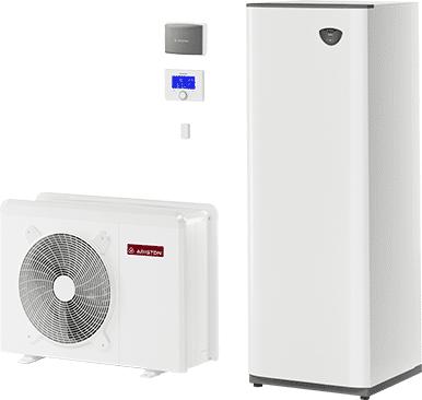 ariston pompa di calore aria-acqua con accumulo compact da 180 lt per 1 zona nimbus compact m net 40m gas r410a
