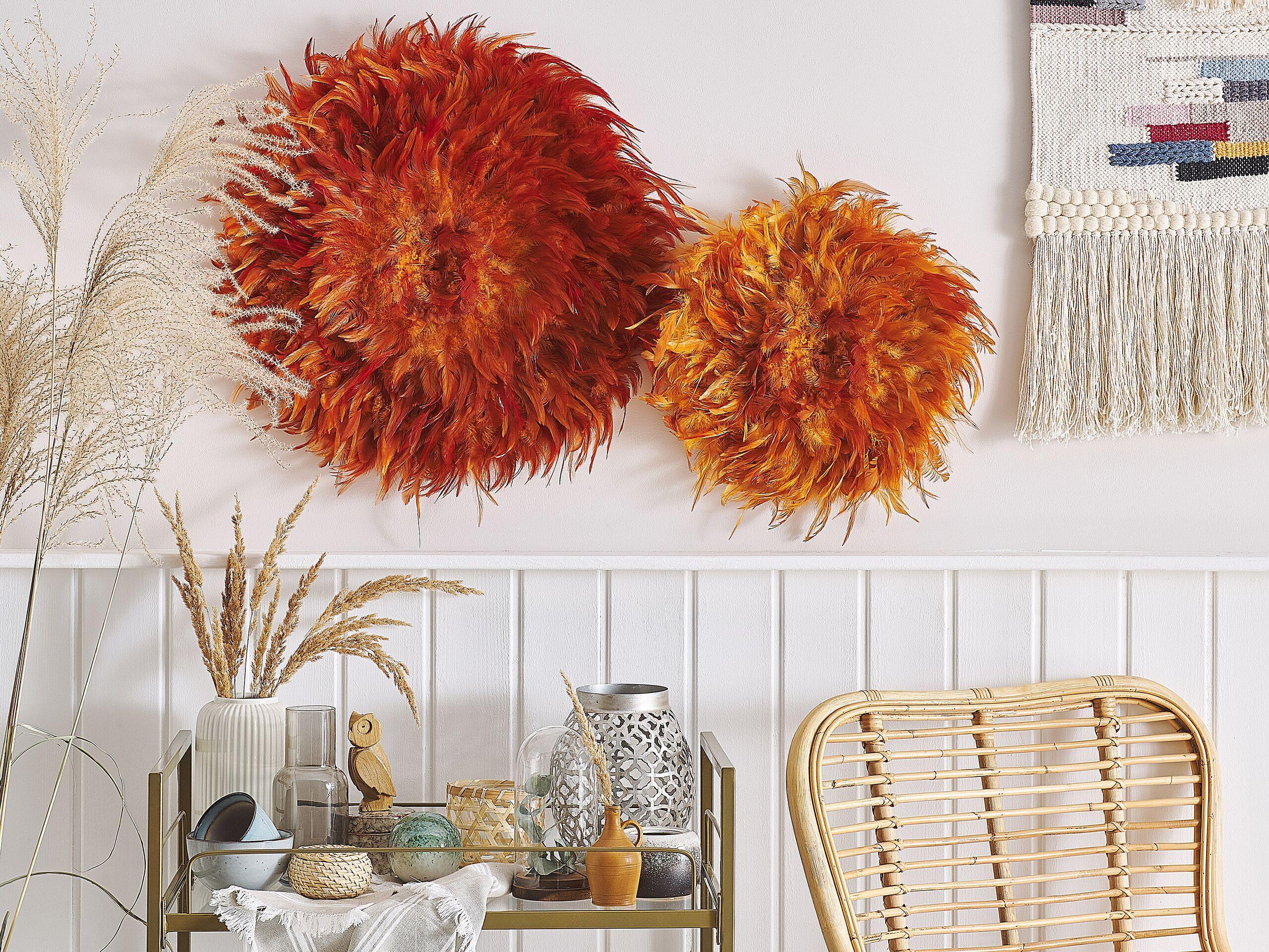 beliani decorazione murale tonda arancione con piume decor per soggiorno 60 cm