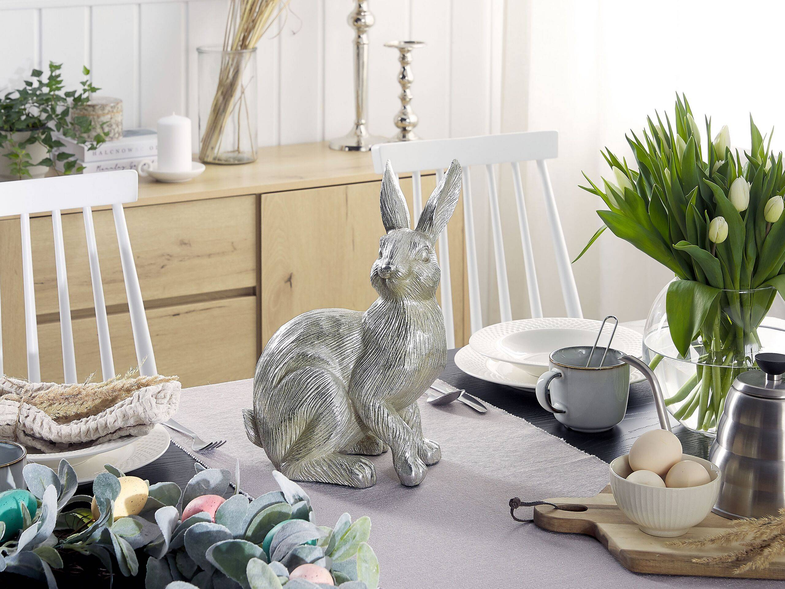 beliani statuetta decorativa argento coniglio pasquale decor interni salotto giardino