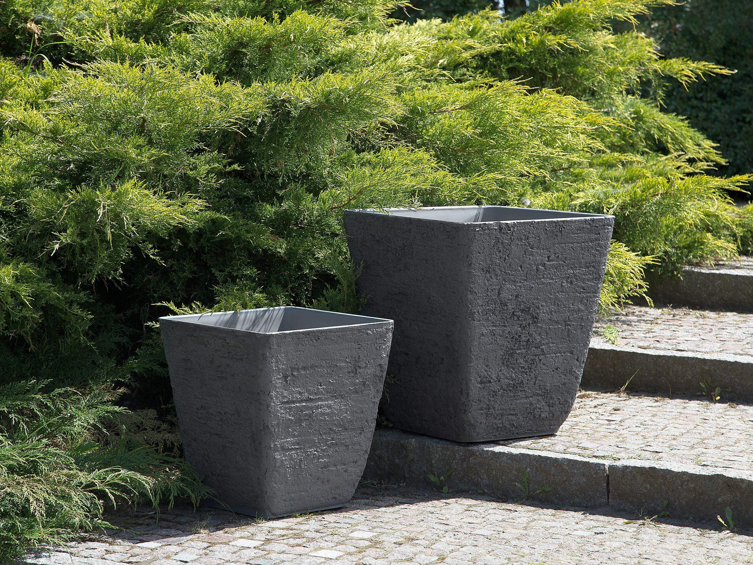 beliani set di 2 vasi quadrati in simil pietra grigia per interni e esterni