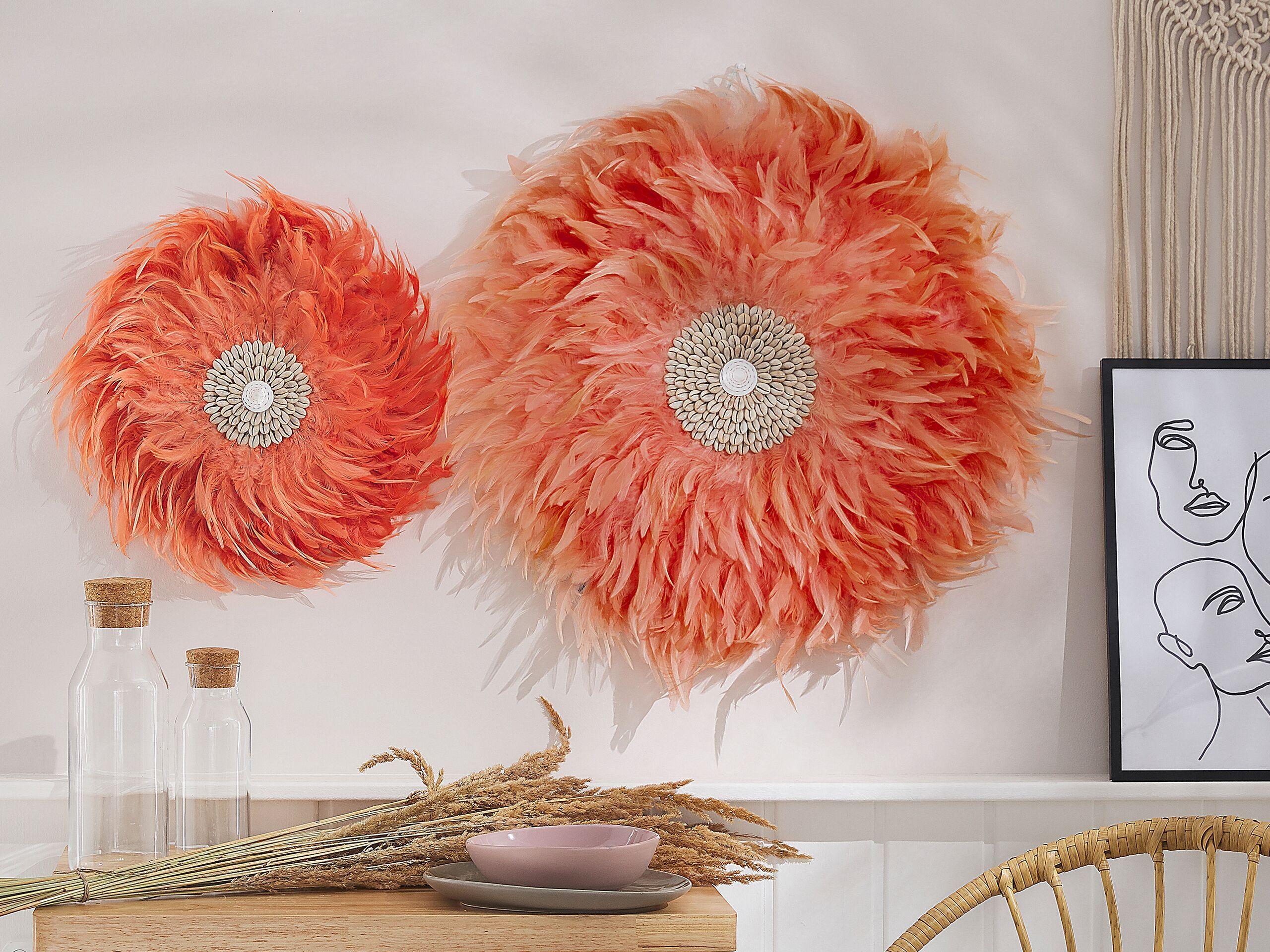 beliani decorazione parete rosso corallo piume e conchiglie stile boho Ø 40 cm