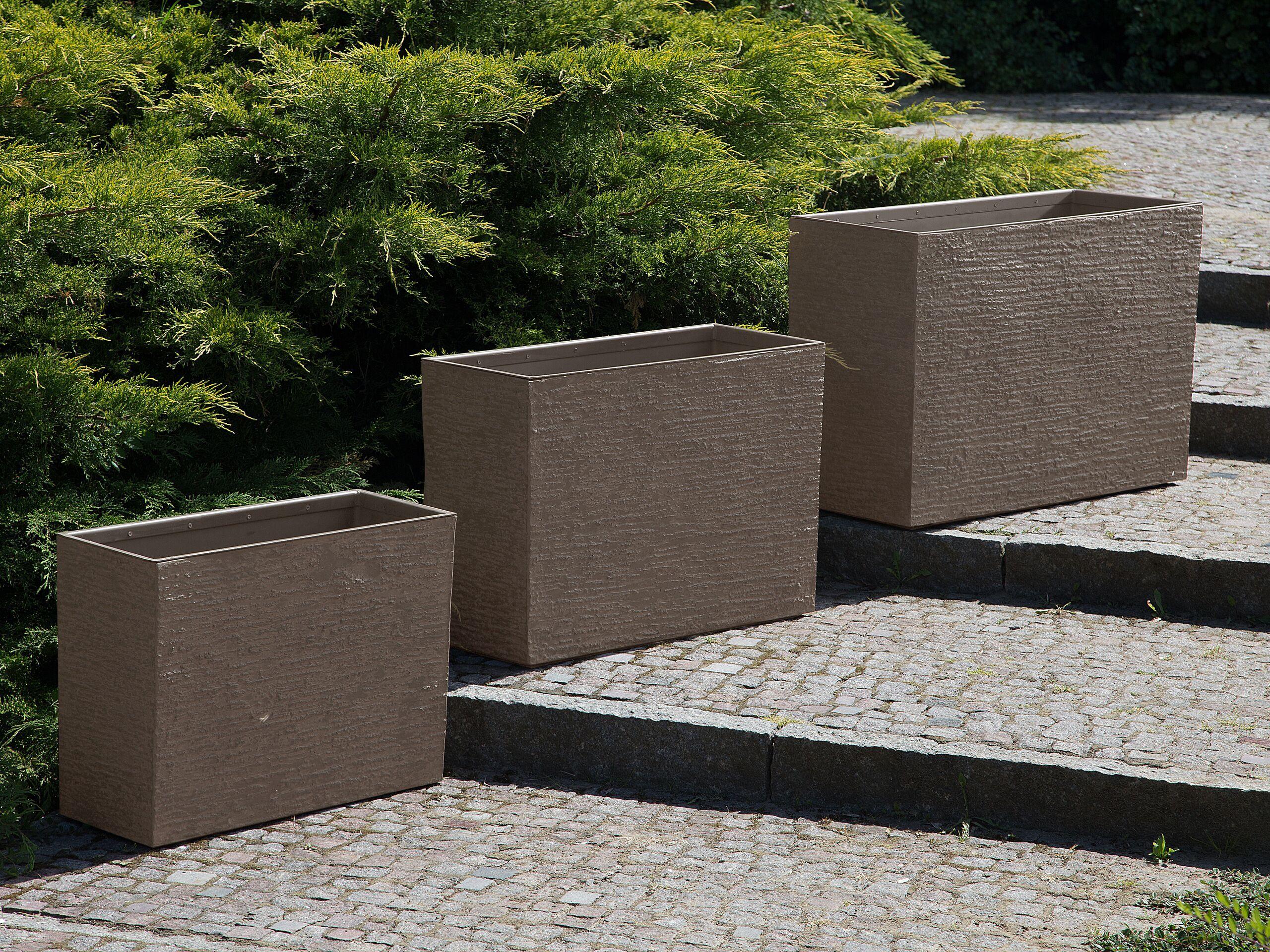 beliani set di 3 vasi in pietra e resina sintetica marrone scuro rettangolari