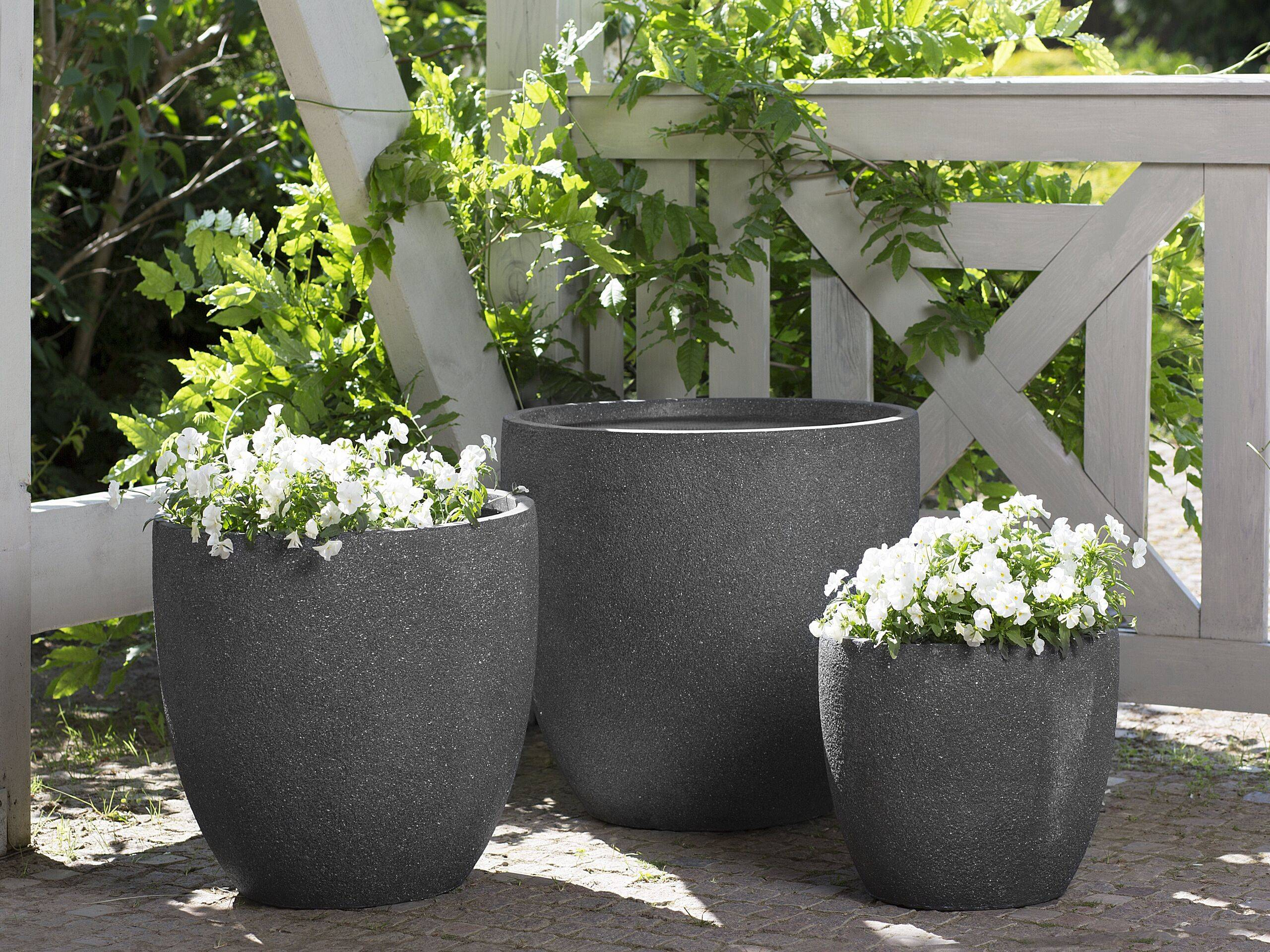 beliani set di 3 vasi rotondi in fibra di argilla grigio scuro varie dimensioni
