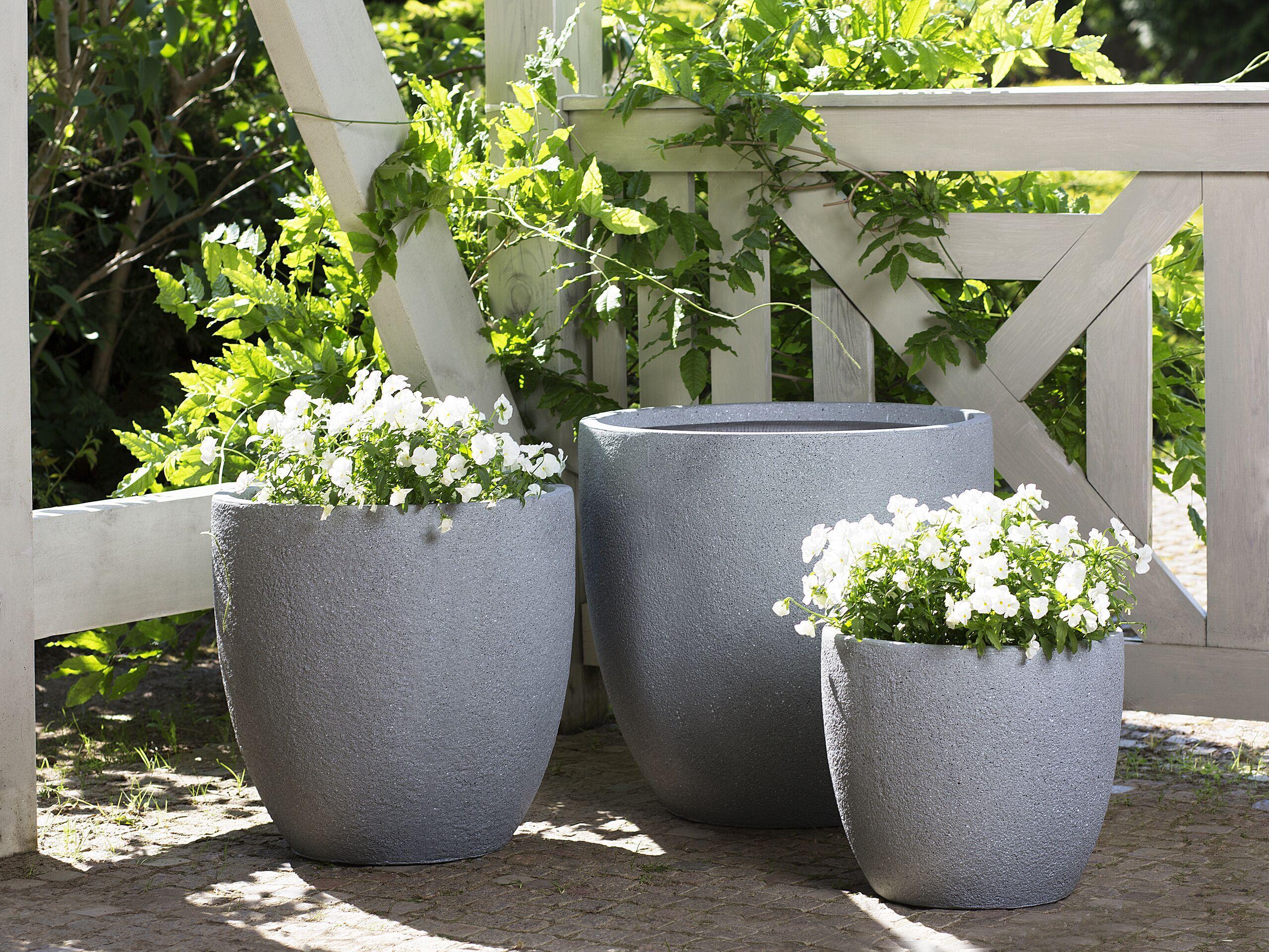 beliani set di 3 vasi rotondi in fibra di argilla grigia varie dimensioni