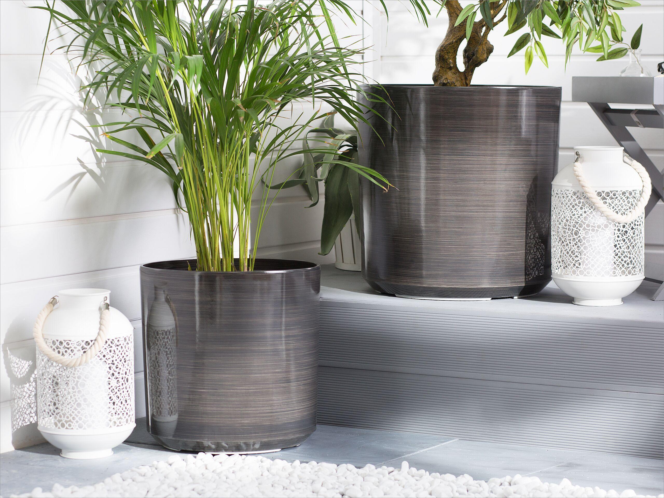 beliani set di 2 vasi da fiori tondi marroni miscela fibra di argilla e di vetro