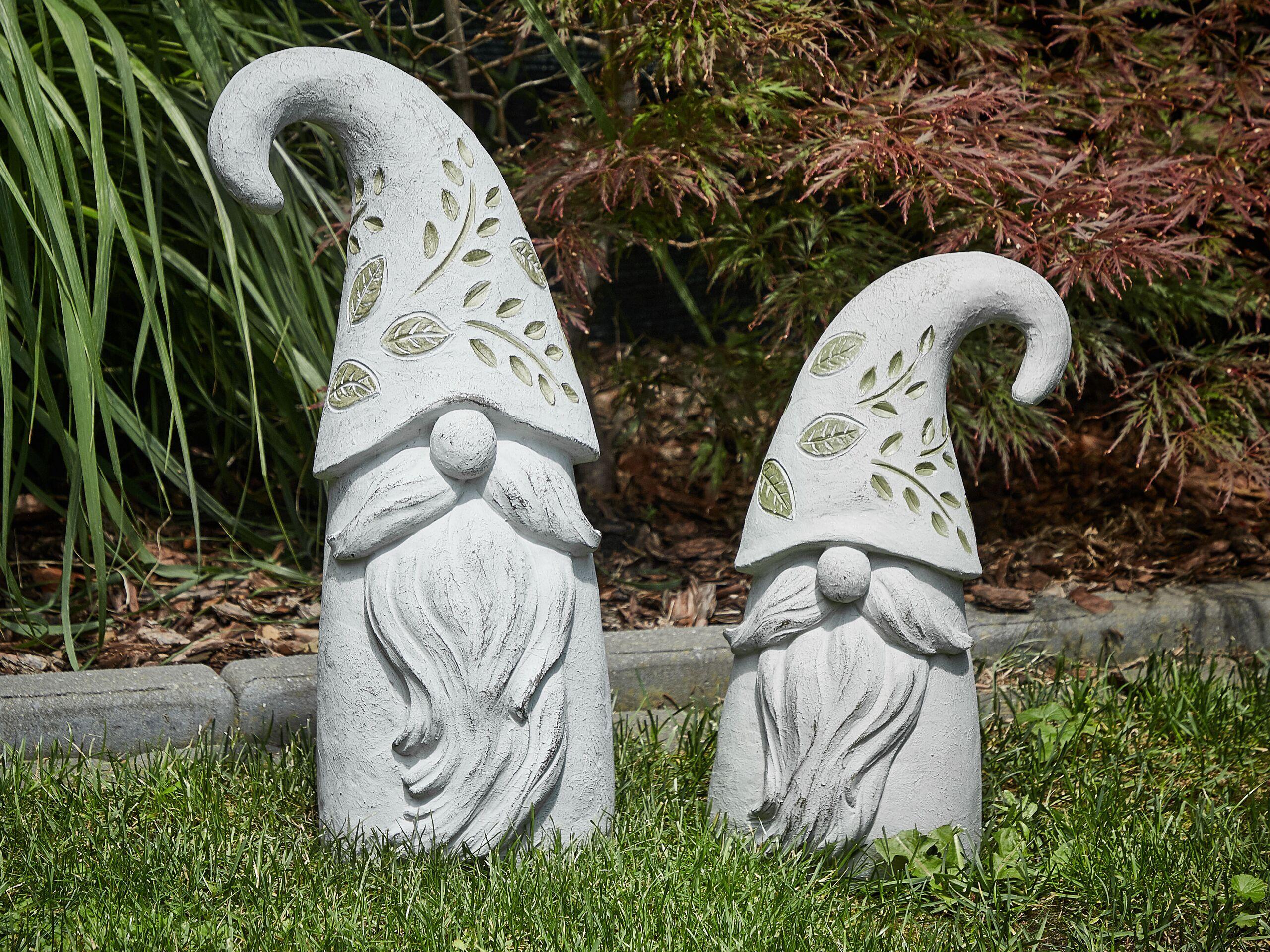 beliani moderno decorazione da giardino statuetta di gnomo 50 cm in poliresina bianco