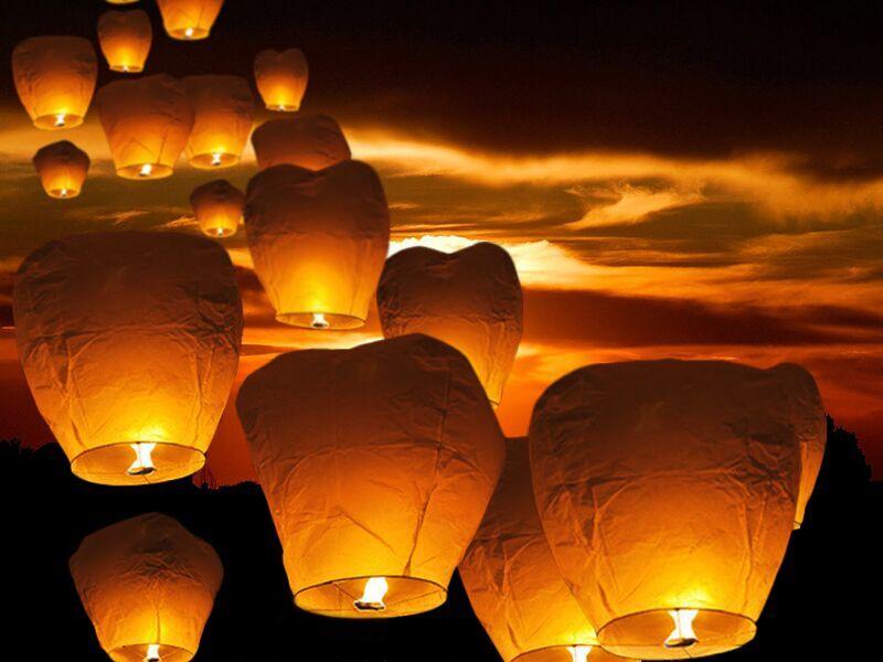beliani lanterne cinesi - lanterne volanti per eventi notturni - 10