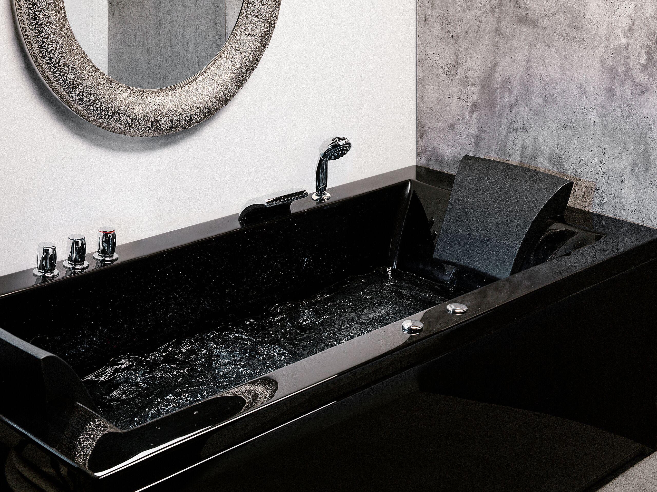 beliani vasca da bagno idromassaggio versione sinistra color nero