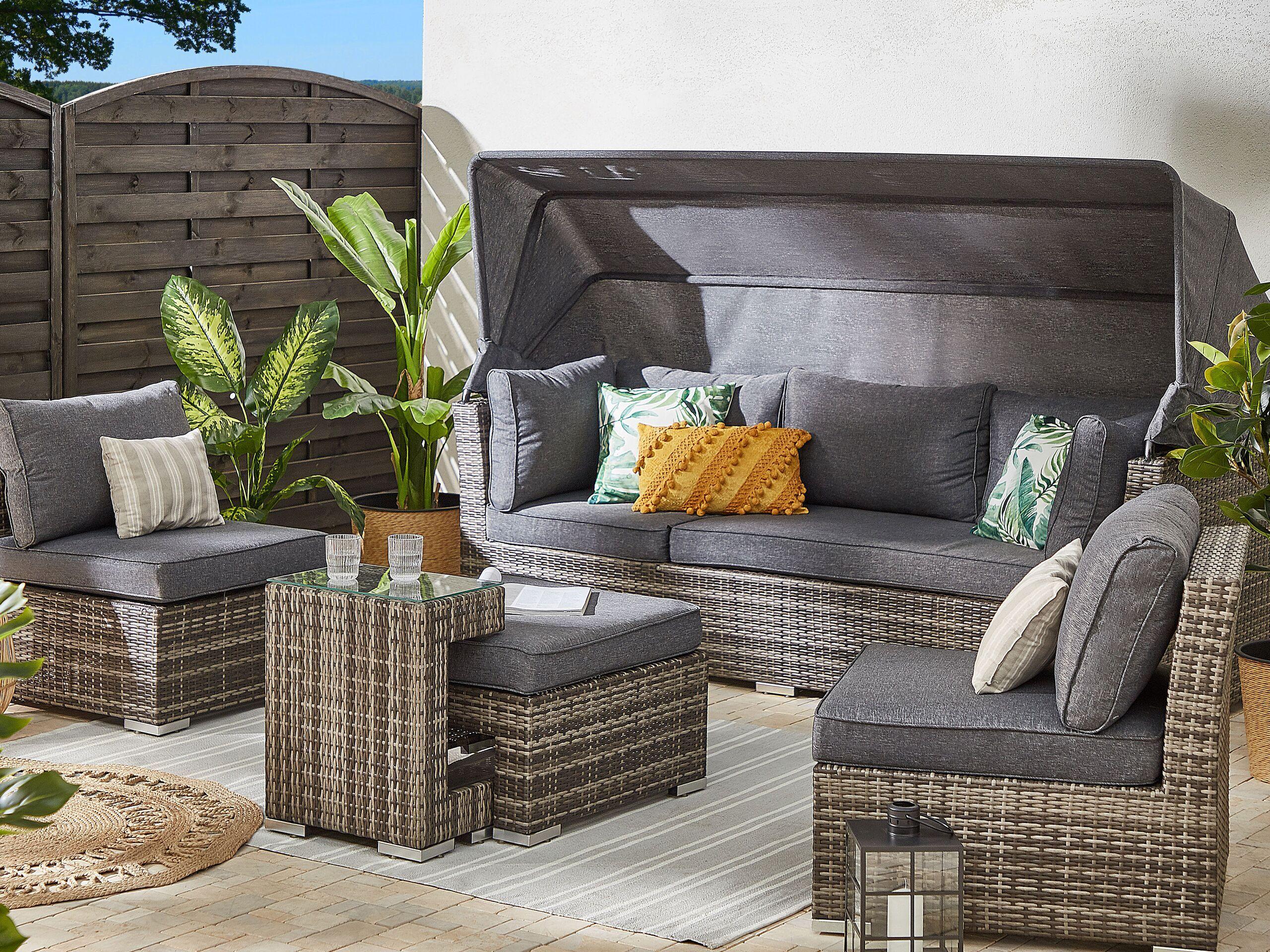 beliani set da giardino divano in rattan pe marrone e grigio con baldacchino e tavolino