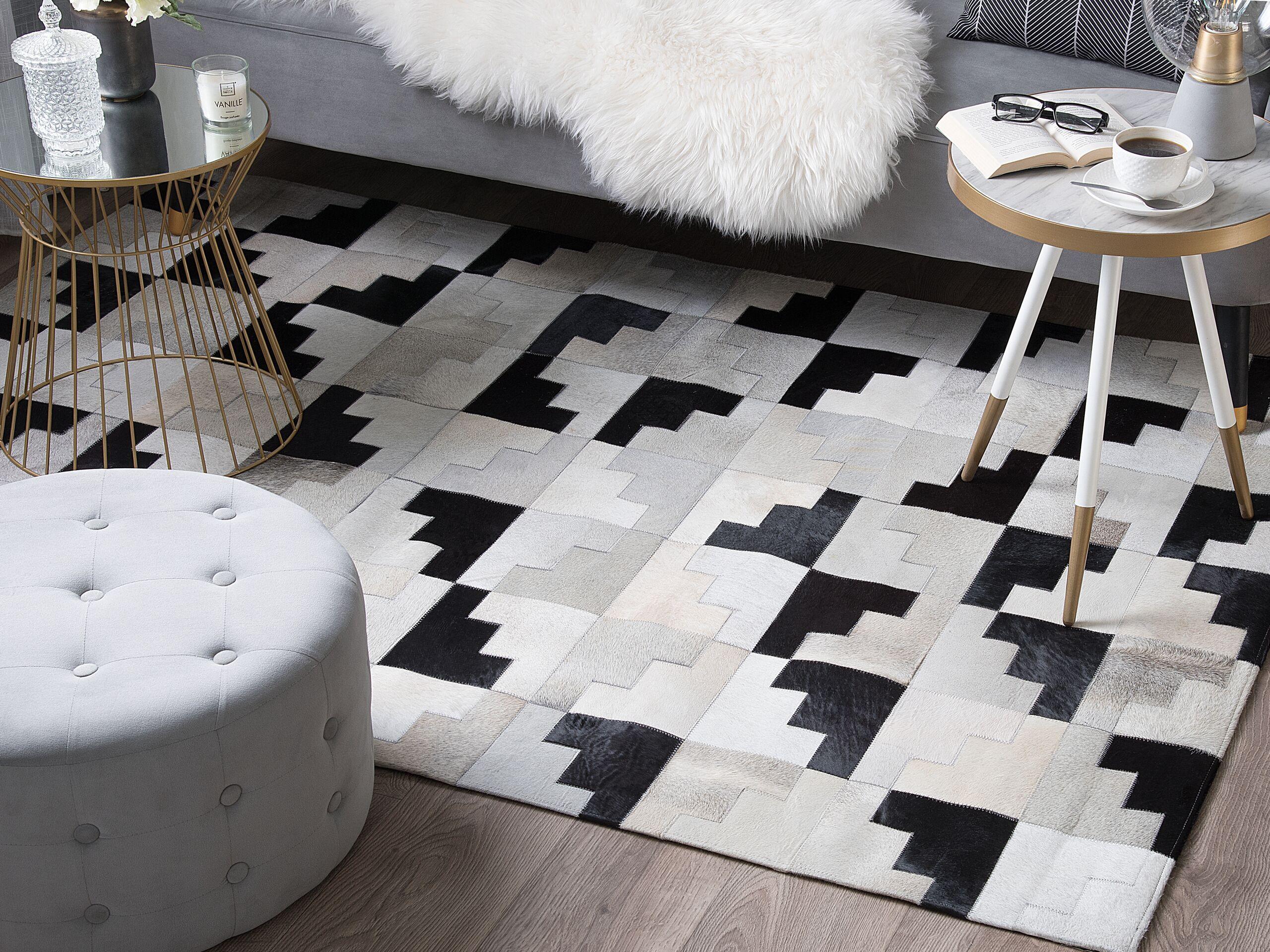 beliani tappeto in pelle nero / grigio 140 x 200 cm