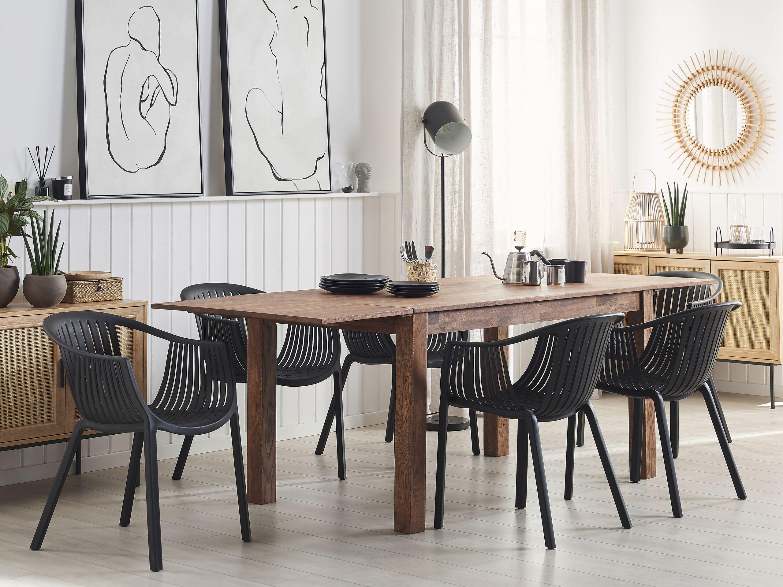 beliani set di 6 sedie da esterno con poggiabracci in colore nero