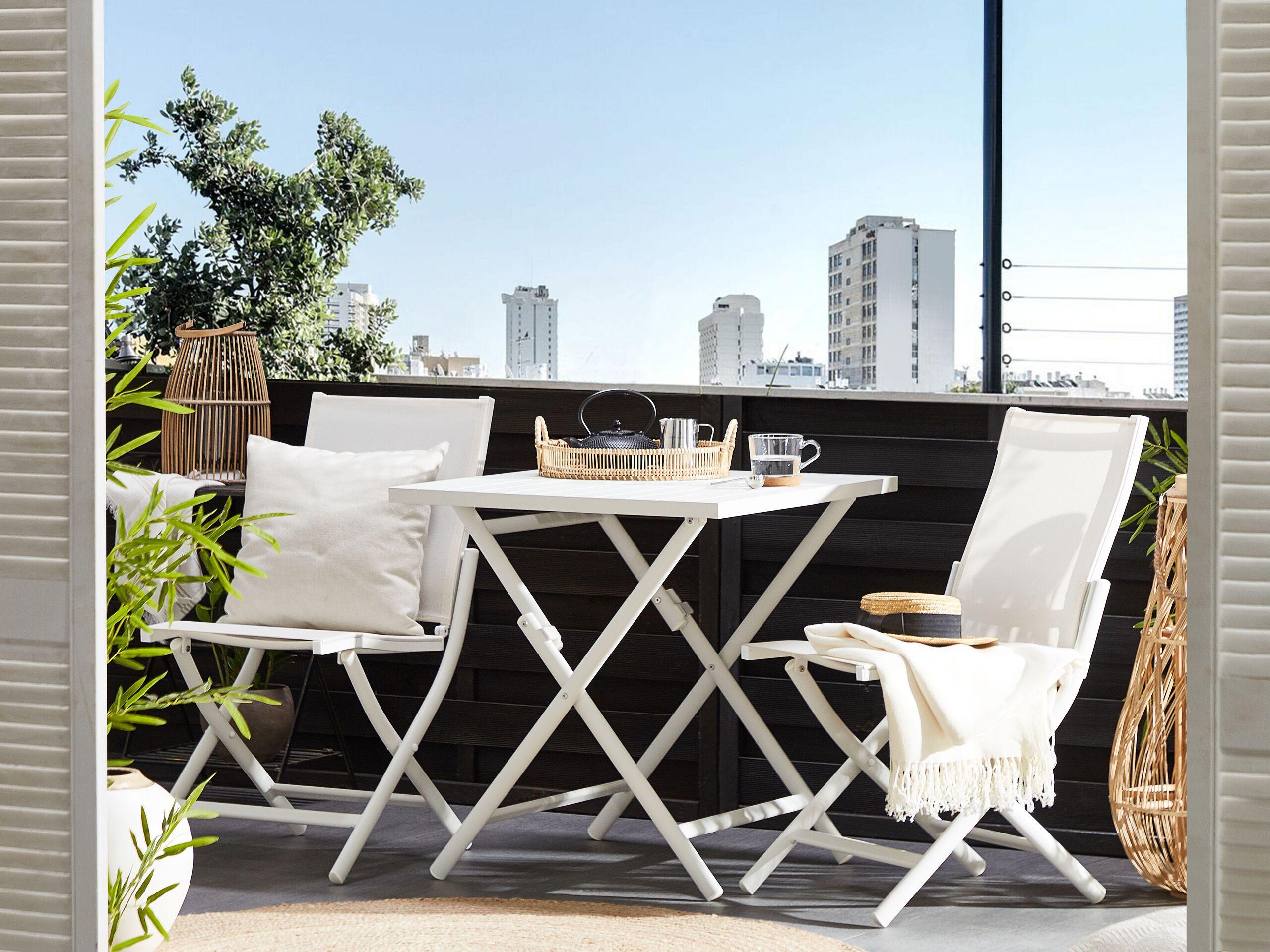 beliani set bistro per due da balcone terrazzo giadino in alluminio bianco