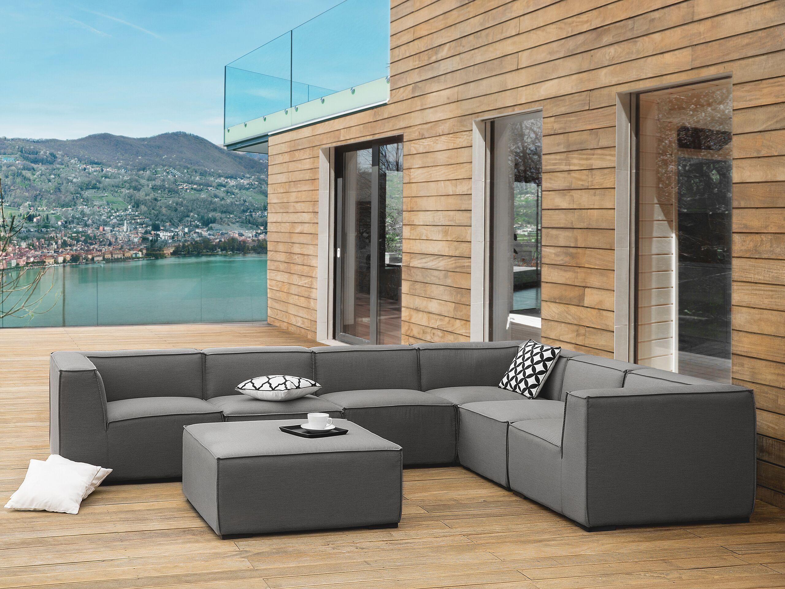 beliani set da salotto grigio a 7 posti componibile con pouf per esterno e interno
