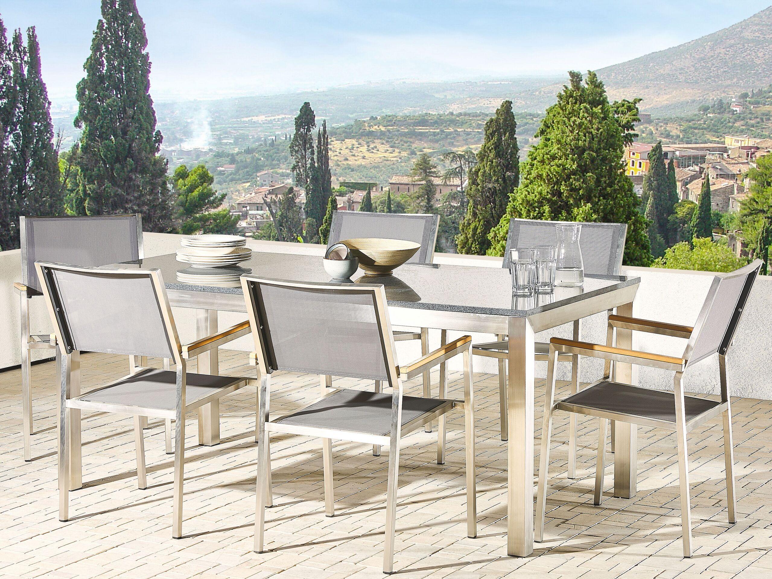 beliani tavolo da giardino granito grigio gambe acciaio argento 180 x 90 cm