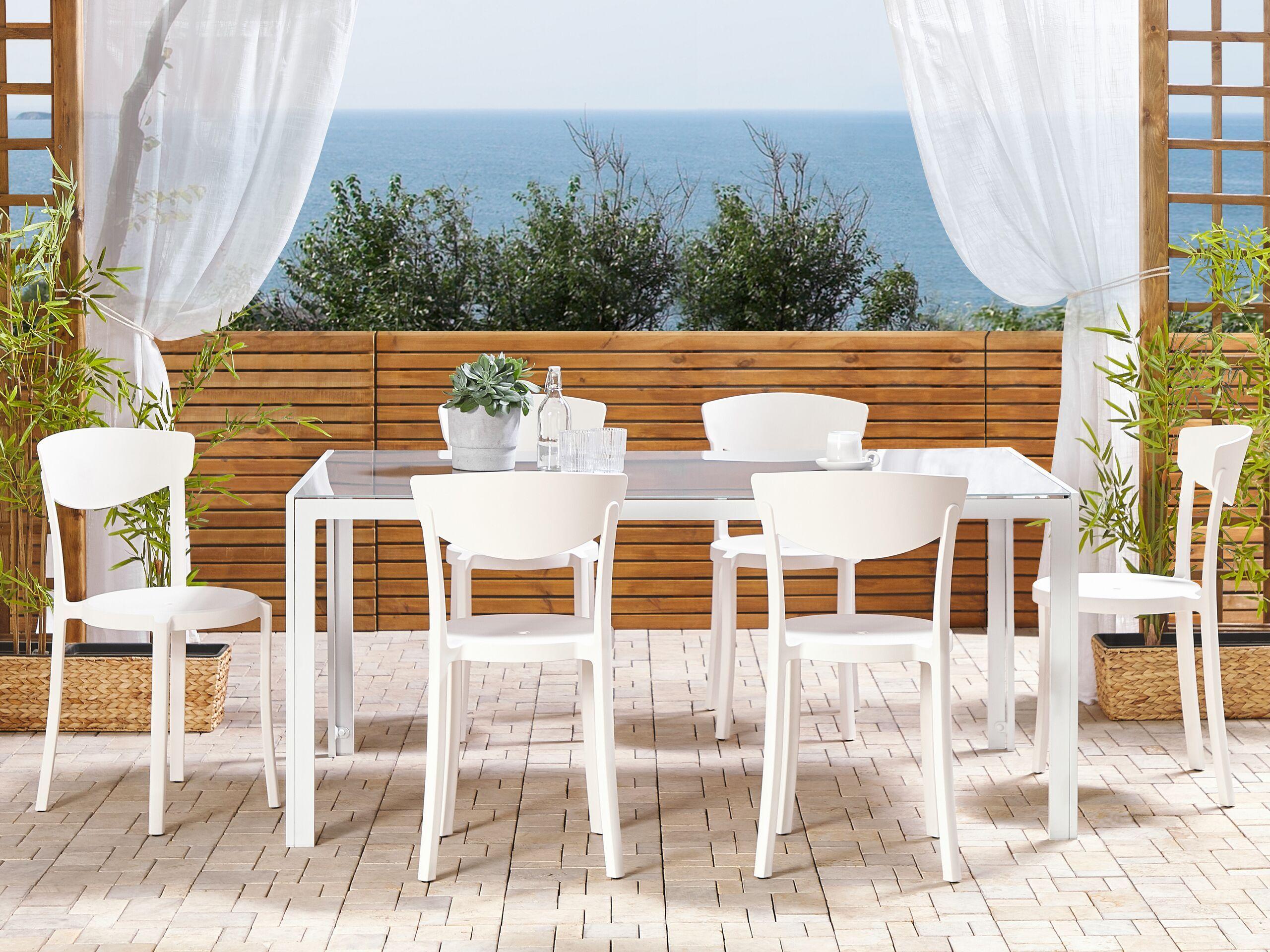 beliani set di 6 sedie moderne da esterno e interno in plastica bianco