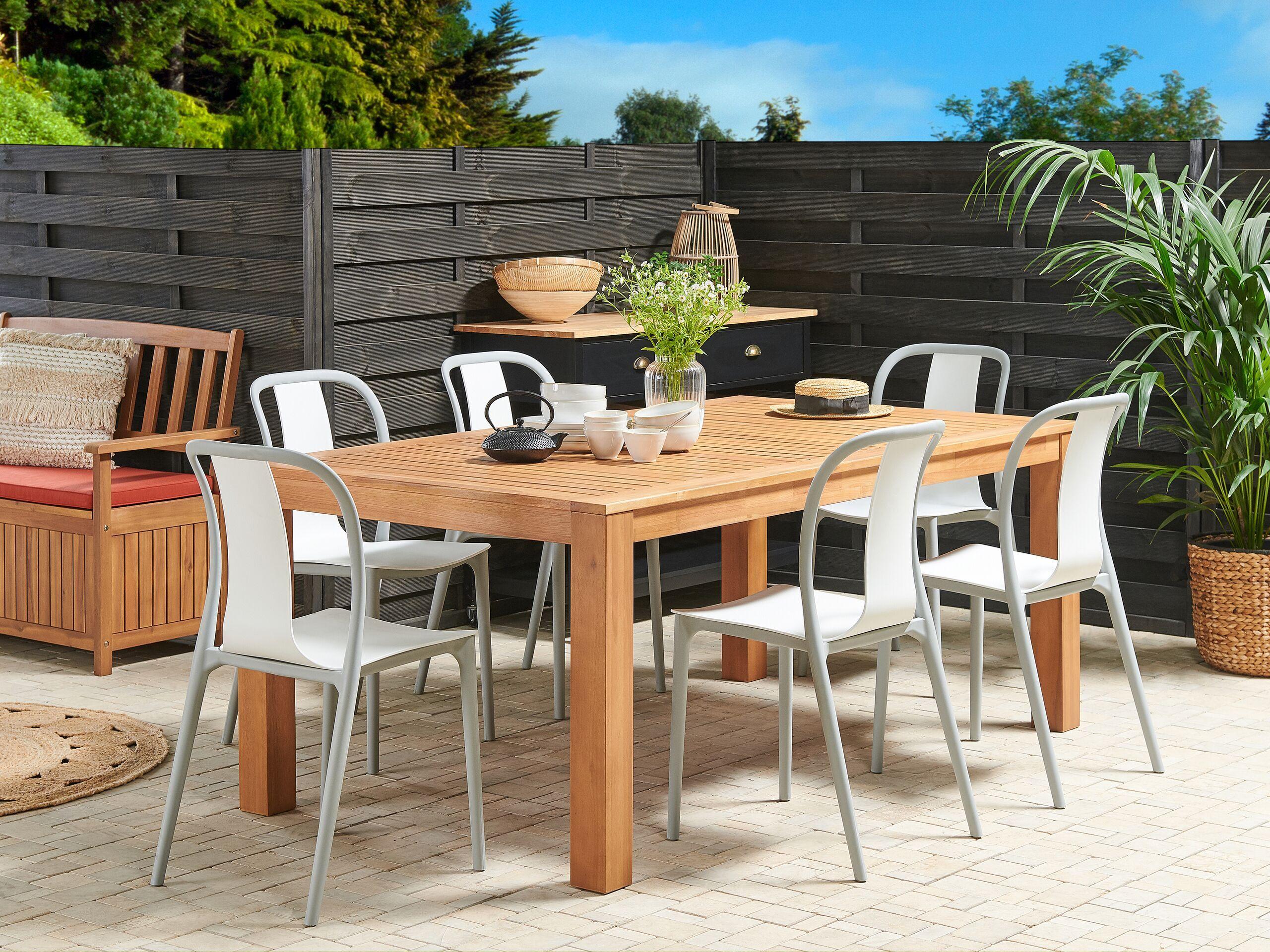 beliani set di 6 sedie da esterno in colore bianco e grigio