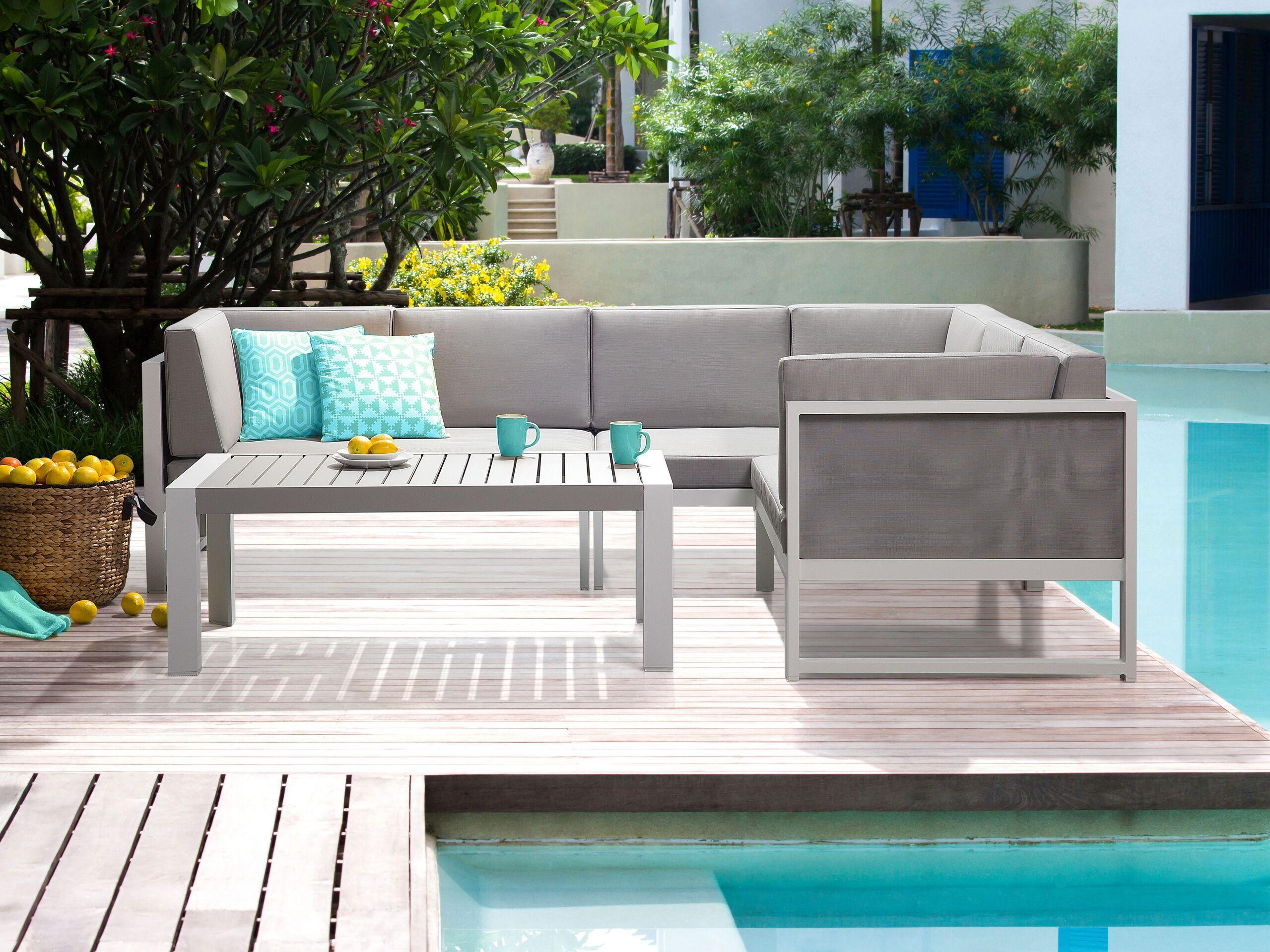 beliani set da esterno divano e tavolino telaio alluminio grigio chiaro ad l