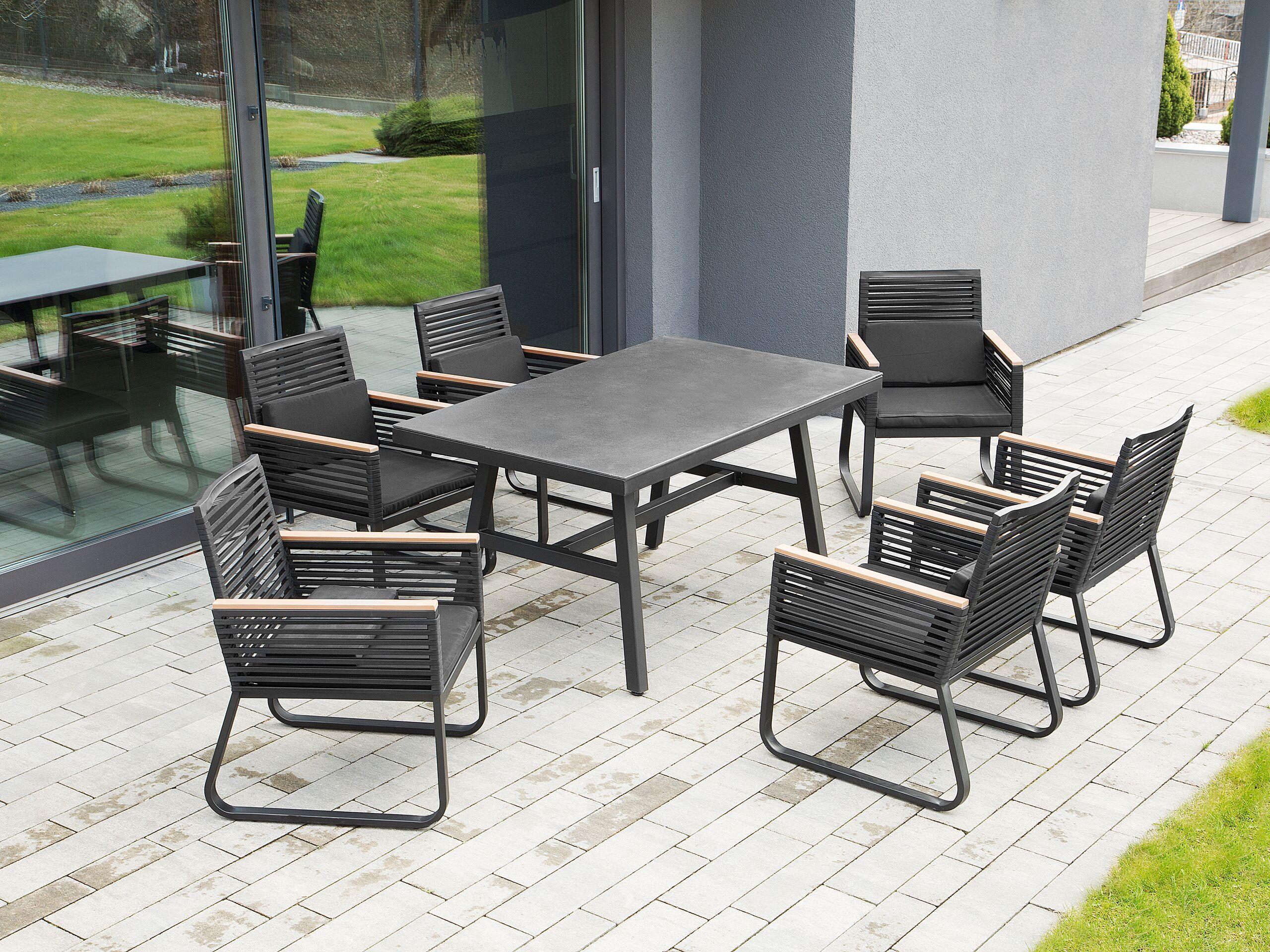 beliani tavolo da giardino piano in vetro nero struttura in metallo 150 x 90 cm