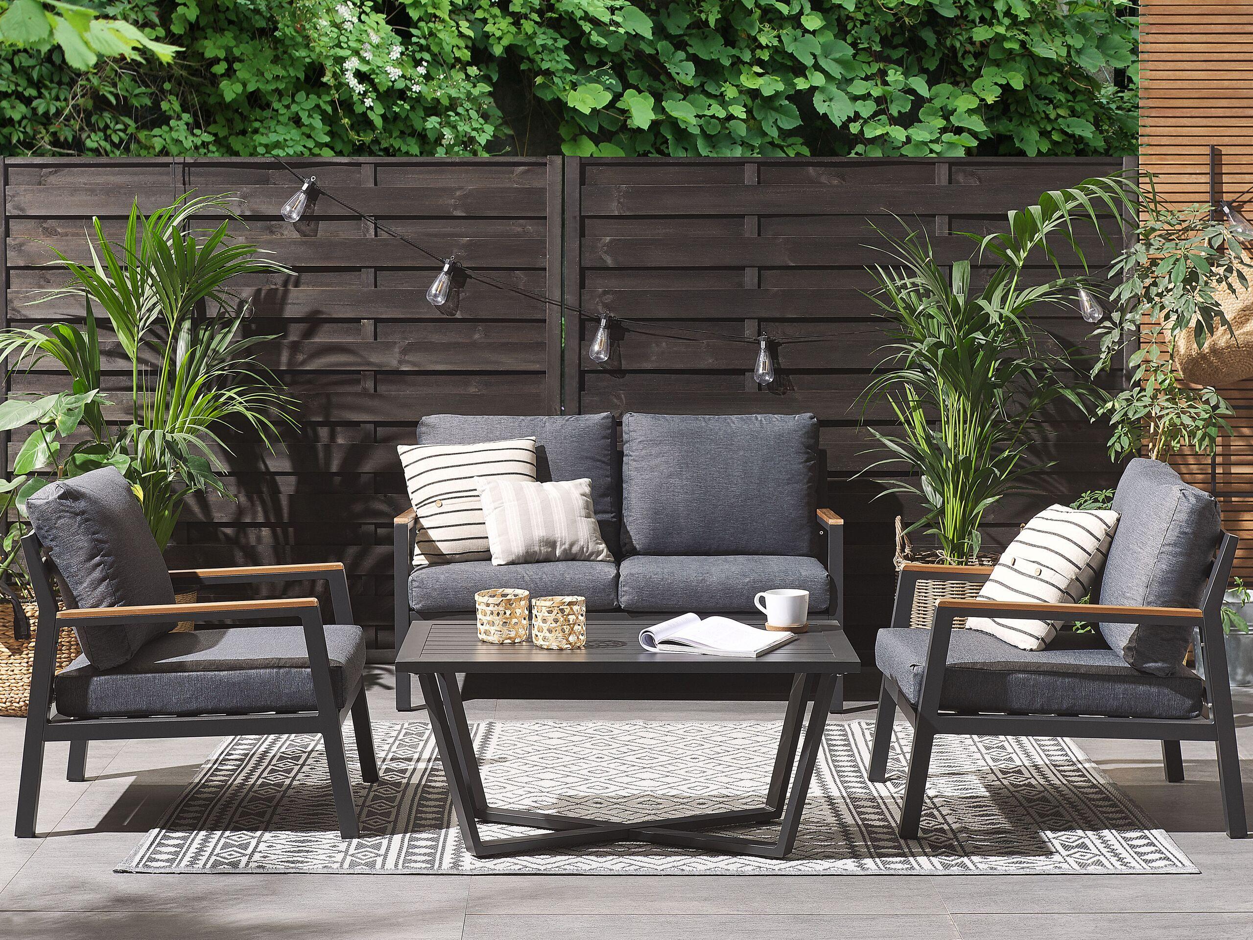 beliani set salotto da giardino moderno con 4 posti in alluminio colore grigio e nero