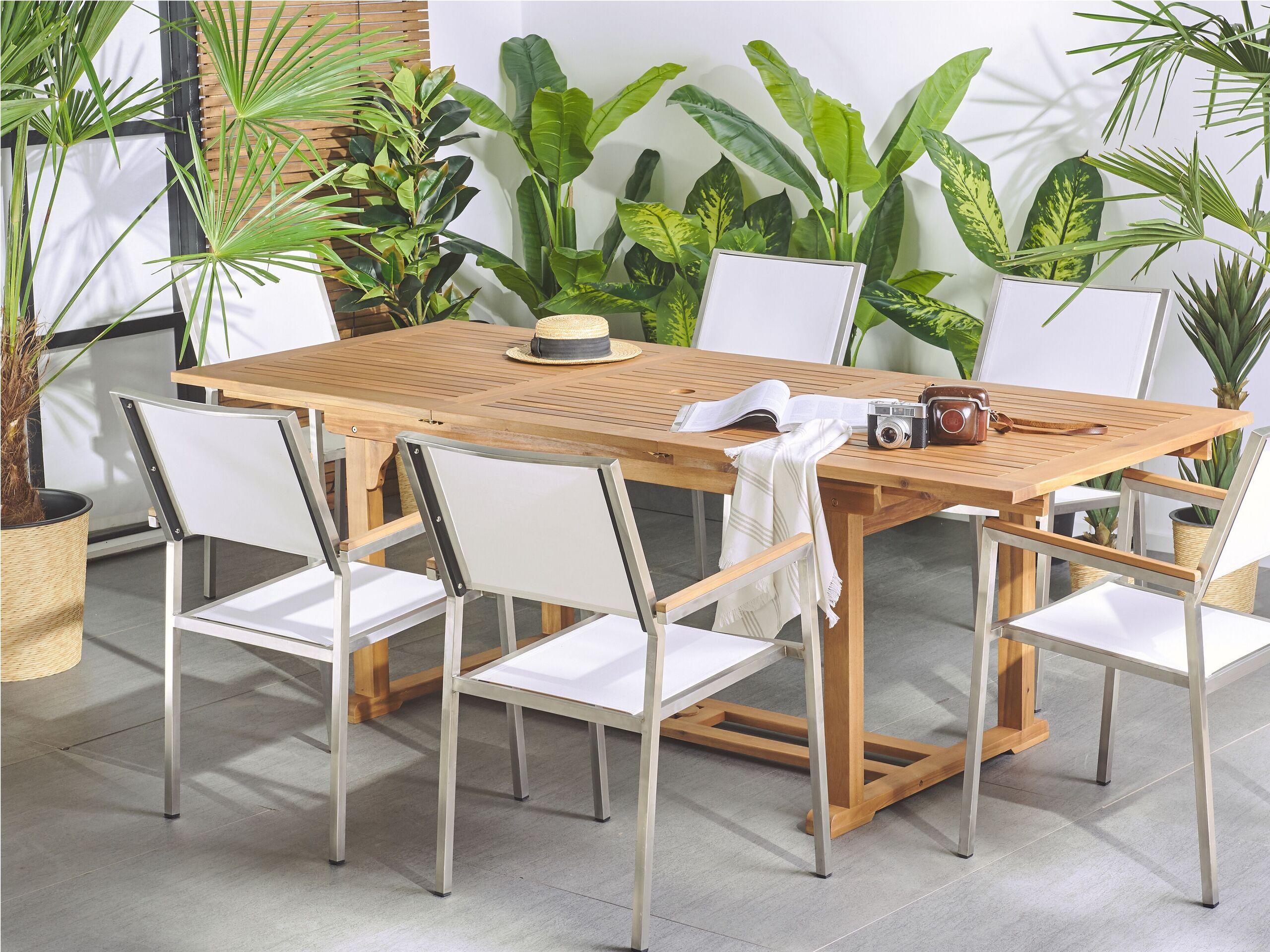 beliani tavolo da giardino pieghevole in legno di acacia design country