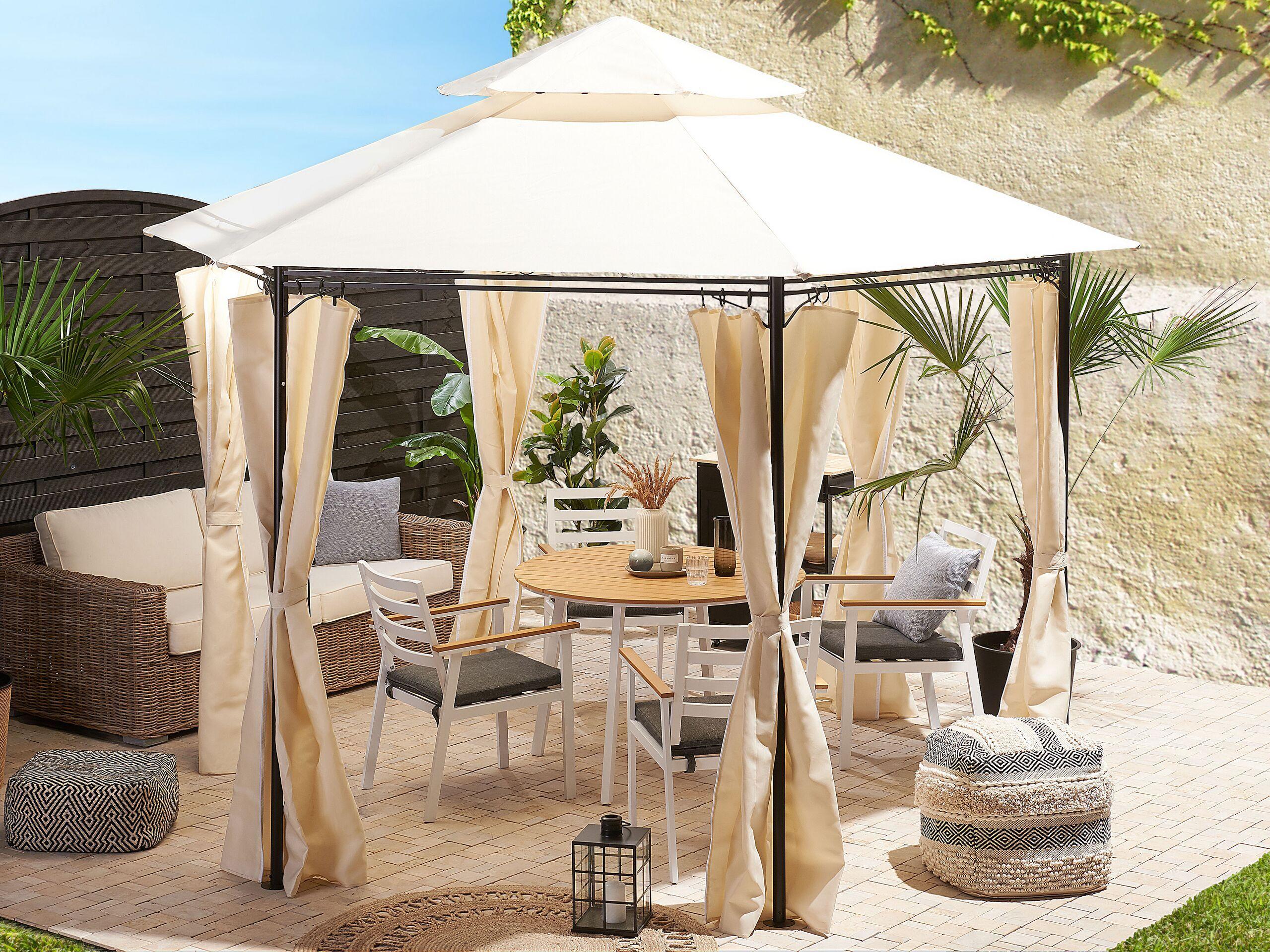 beliani gazebo da giardino esagonale acciaio e tessuto beige protezione solare
