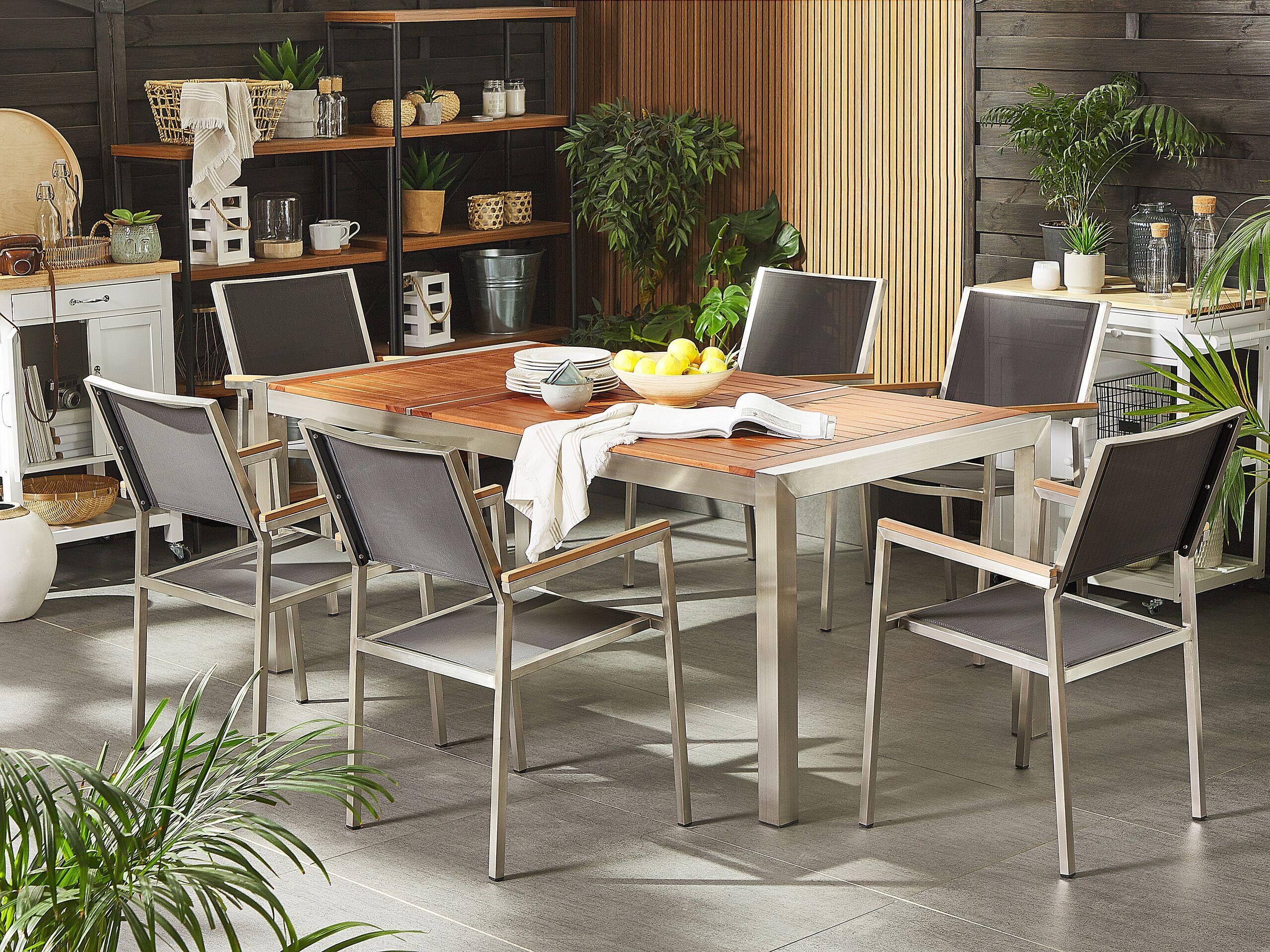 beliani tavolo da giardino legno di eucalipto chiaro gambe acciaio 180 x 90 cm